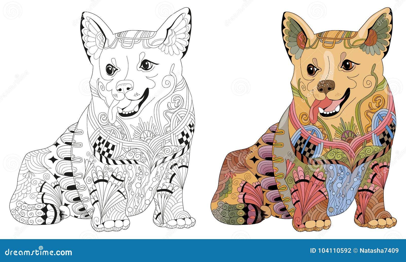 Zentangle Estilizó El Perro Ejemplo Decorativo Dibujado Mano