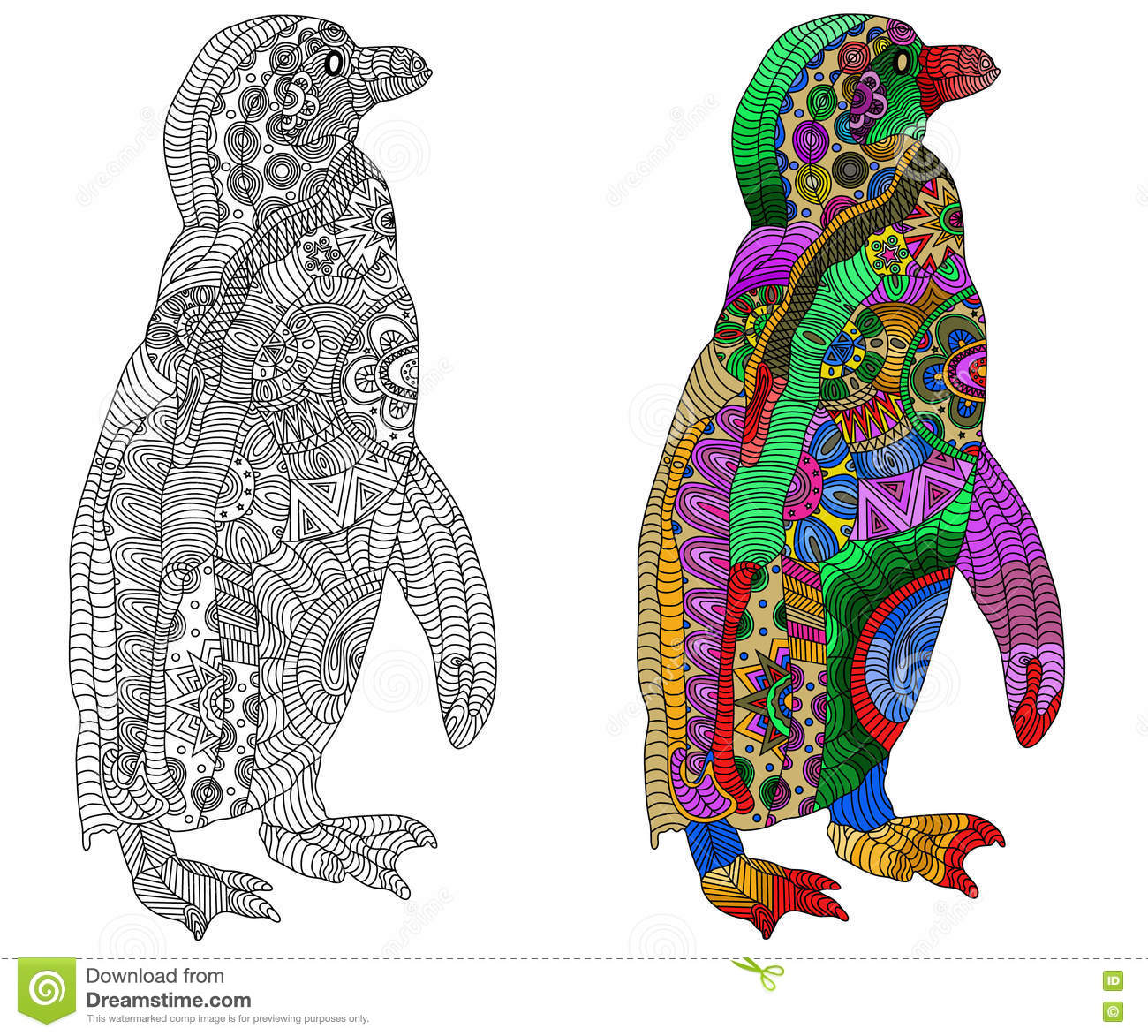 Zentangle Estilizó El Pingüino Del Color Y Del Negro Stock de ...