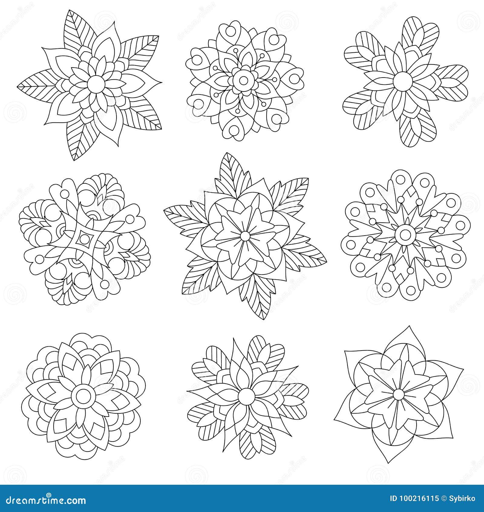 Zentangle Estilizó Los Copos De Nieve De La Navidad Ilustración del ...