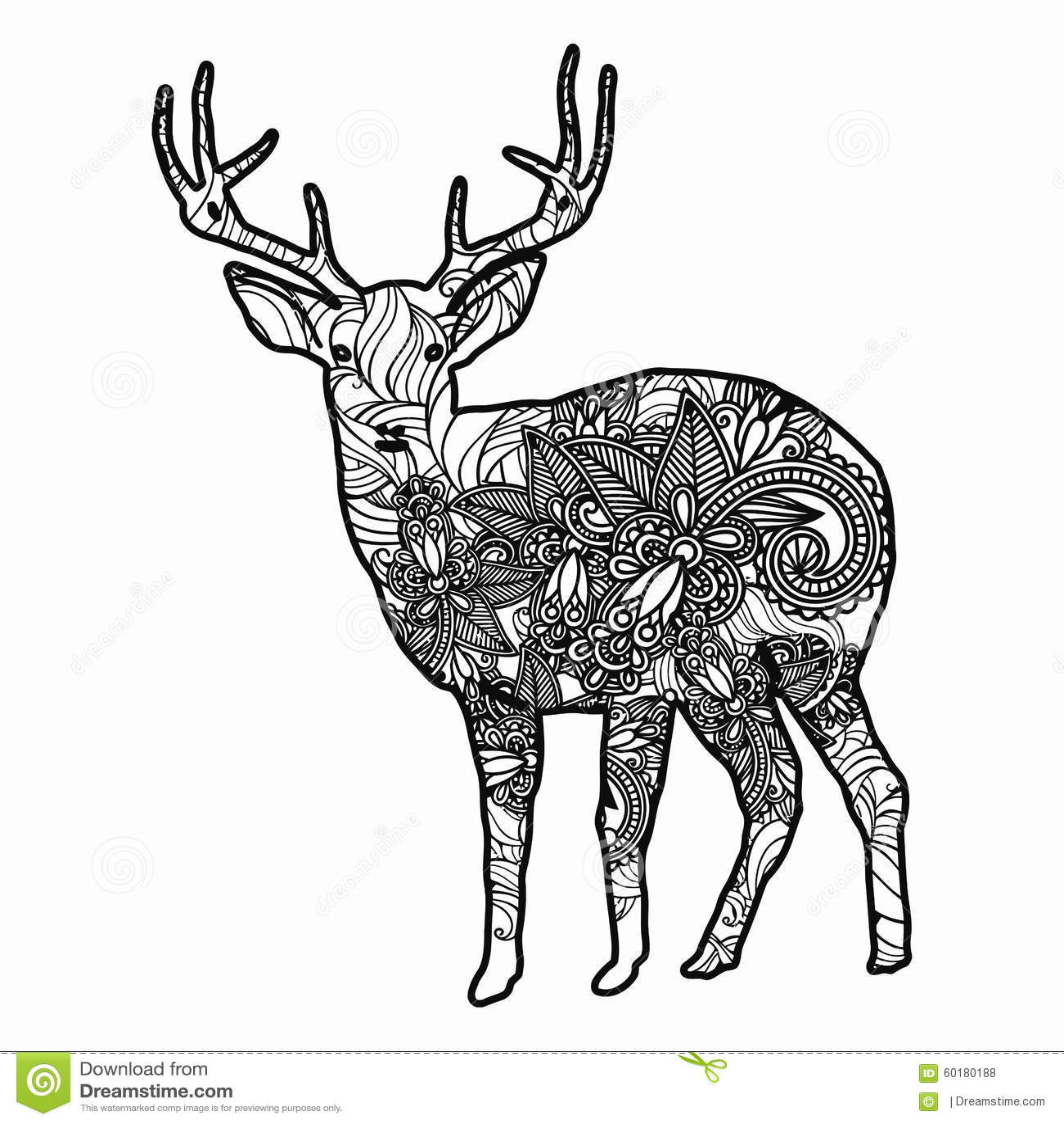 zentangle estilizó el ejemplo de los ciervos ejemplo