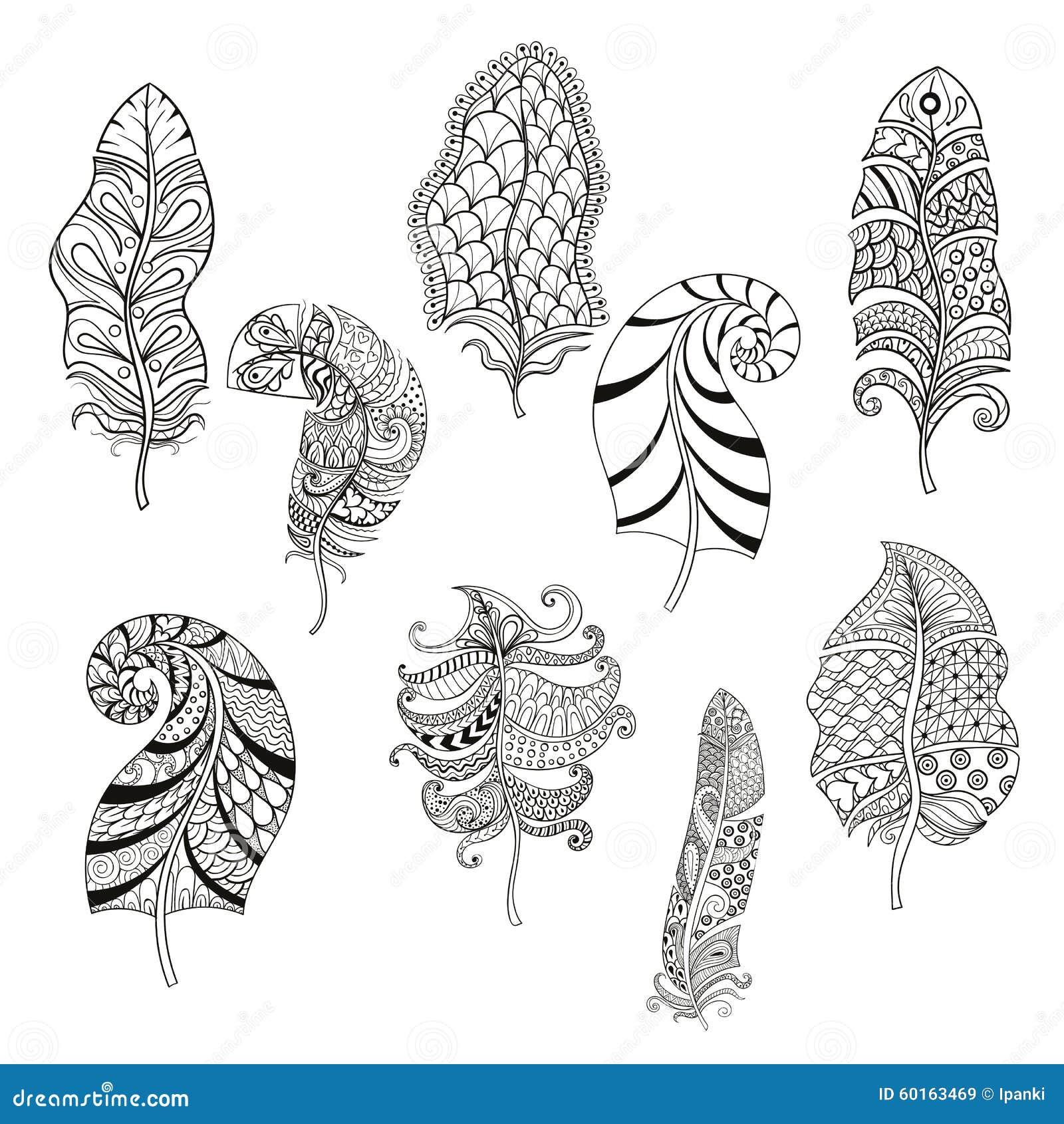 Zentangle estilizou nove penas para a página colorindo