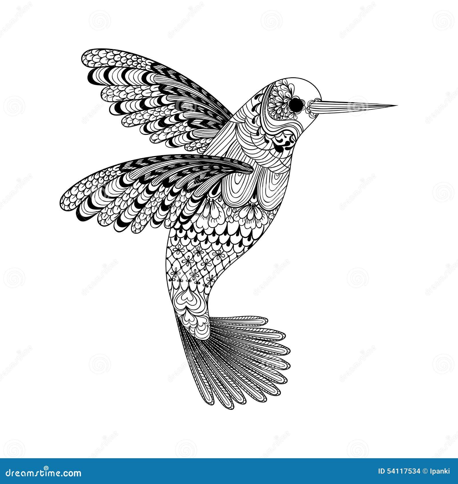 Zentangle estilizou o colibri preto Mão desenhada
