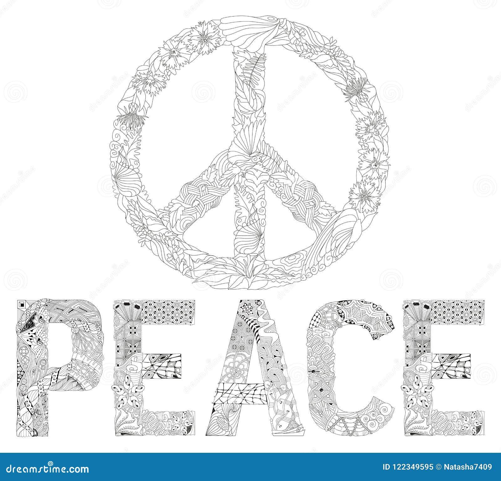 Zentangle Estilizou O Sinal Da Palavra Paz Da Paz Para Colorir