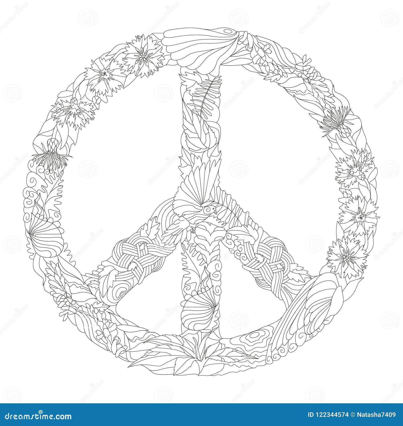 Zentangle Estilizou O Sinal Da Paz Para Colorir Ilustracao Tirada