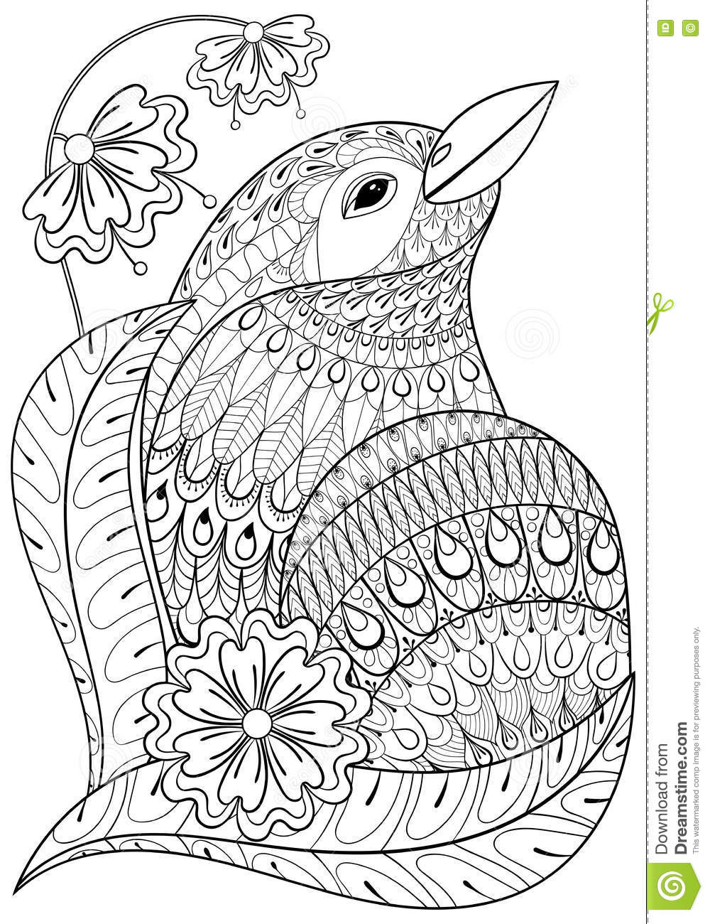 Zentangle Exotic Bird In Flowers Hand Drawn Ethnic Animal For A