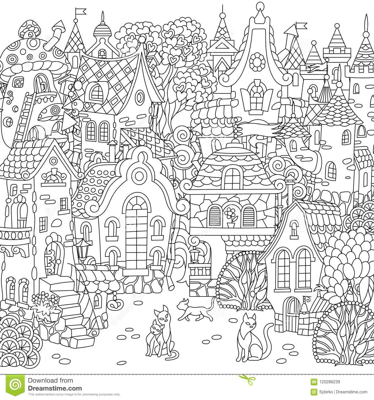 Fairy tale town city landscape fantasy cityscape with vintage houses and cats coloring page colouring picture coloring book freehand sketch drawing