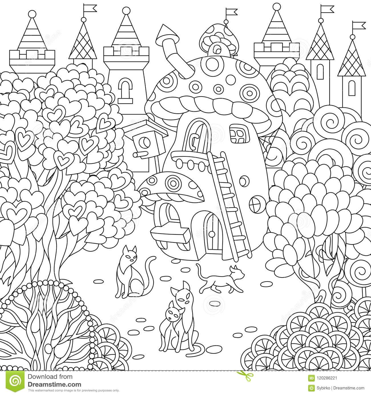 Fantasy town fairytale mushroom house magic heart shaped trees and cats coloring page colouring picture coloring book freehand sketch drawing