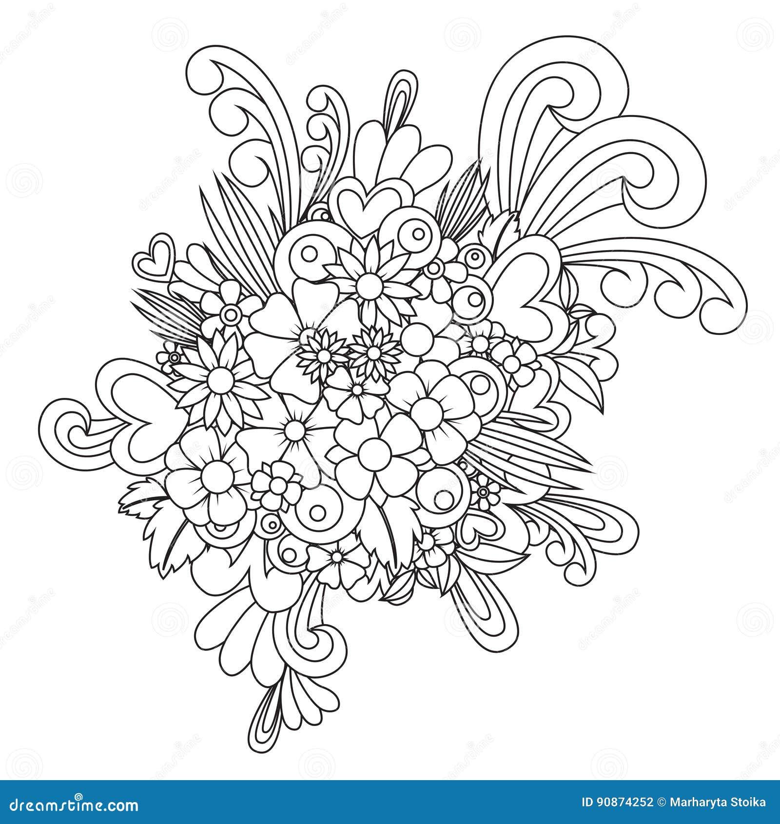 Zen coloring flowers - Zen Flowers Coloring Book Zentangle Flower Blossom Zen Tangle Coloring Book Vector