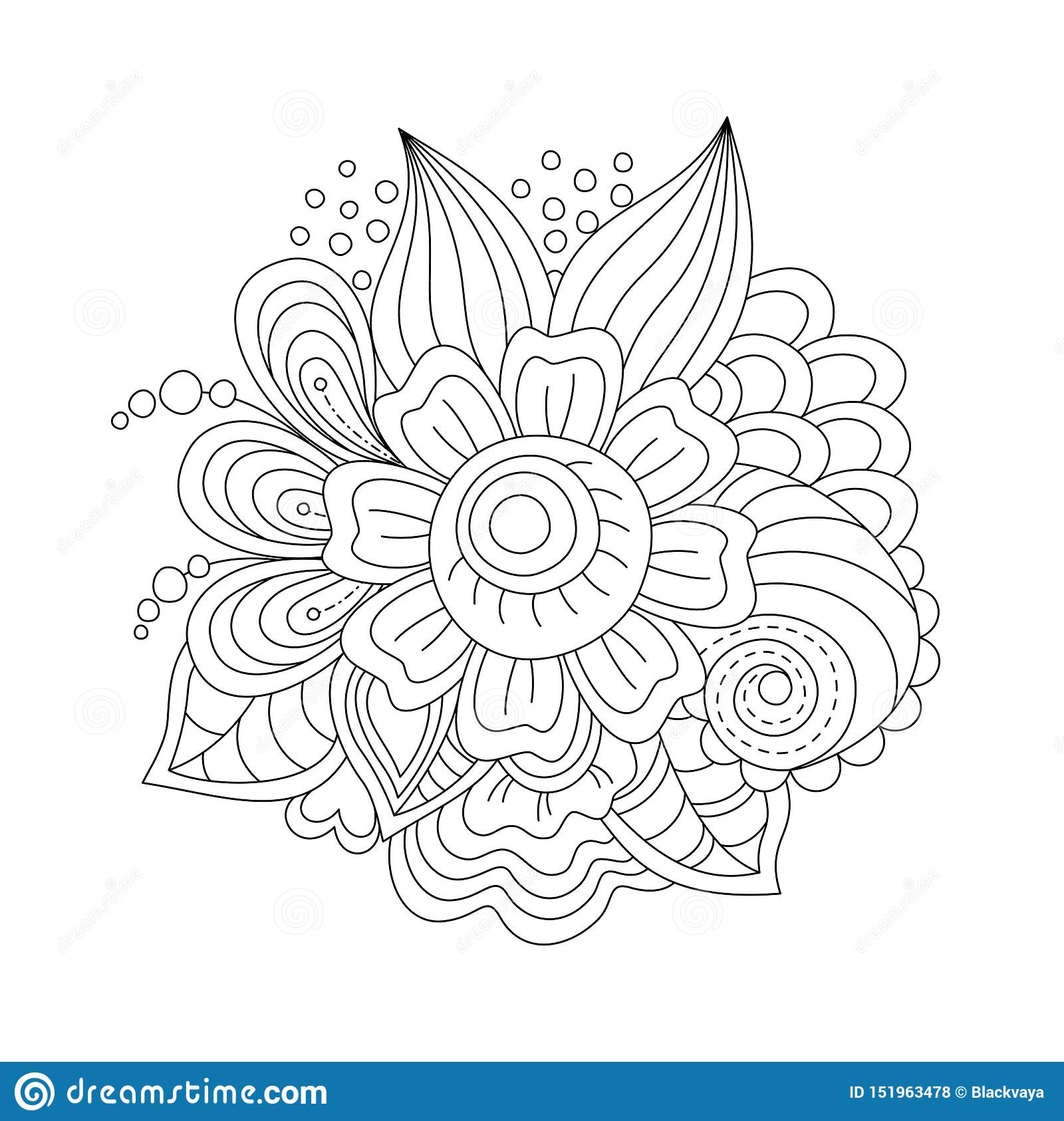 Zentangle Flowers Coloring Page For Adults And Children ...