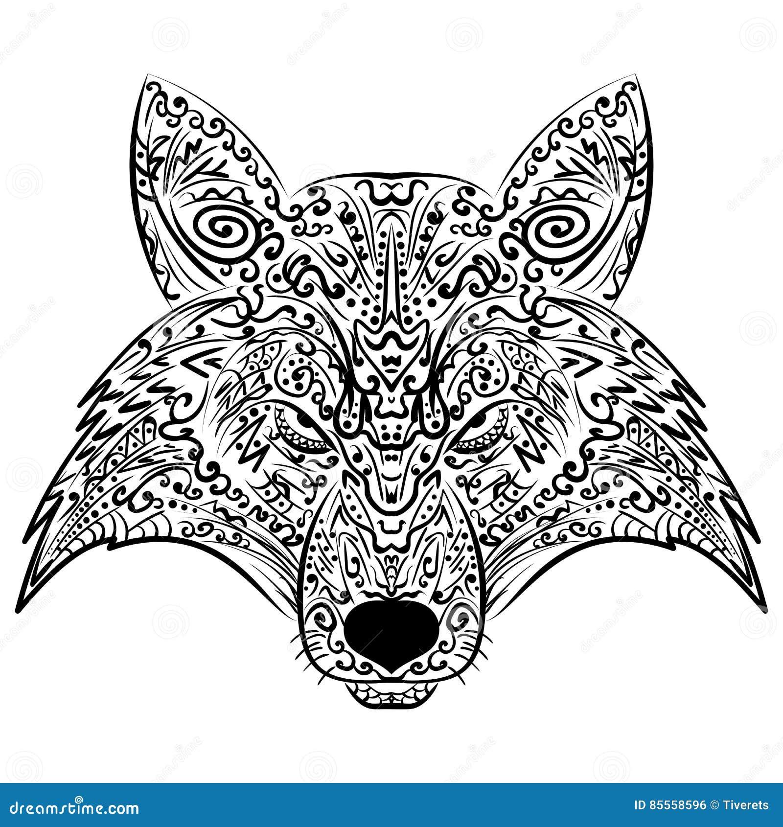 Zentangle Fox-Gesichtsgekritzel-Vektorillustration
