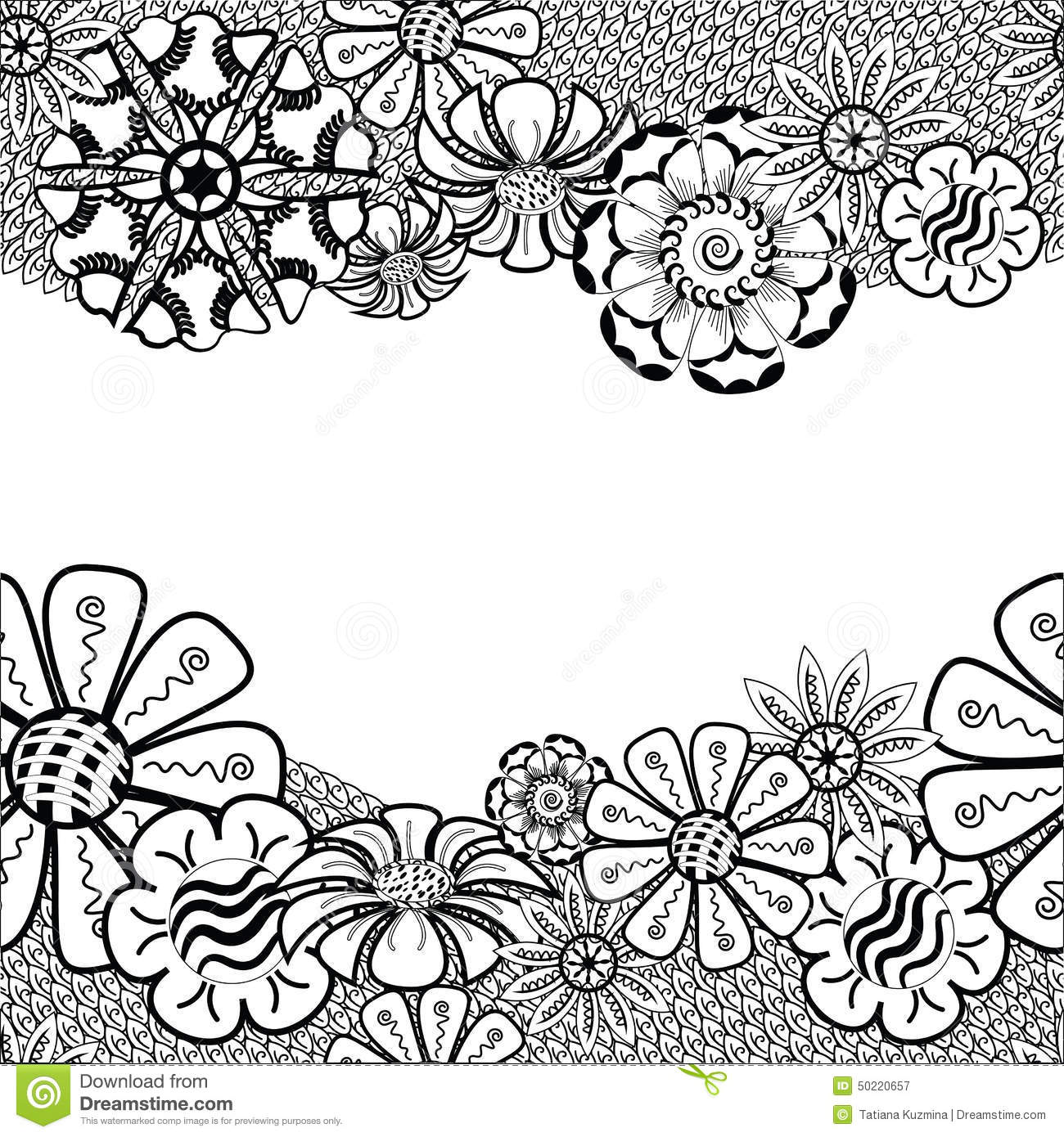 Zentangle Frame With Flower In Doodle  Hand Drawn Stock Vector