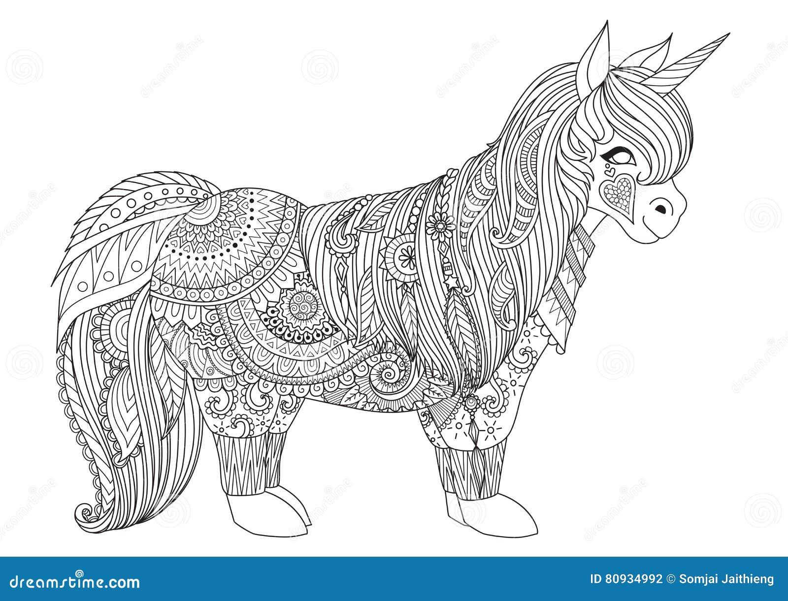 Zentangle-geïnspireerd ontwerp van gelukkig weinig poney voor volwassen kleurende boekpagina s