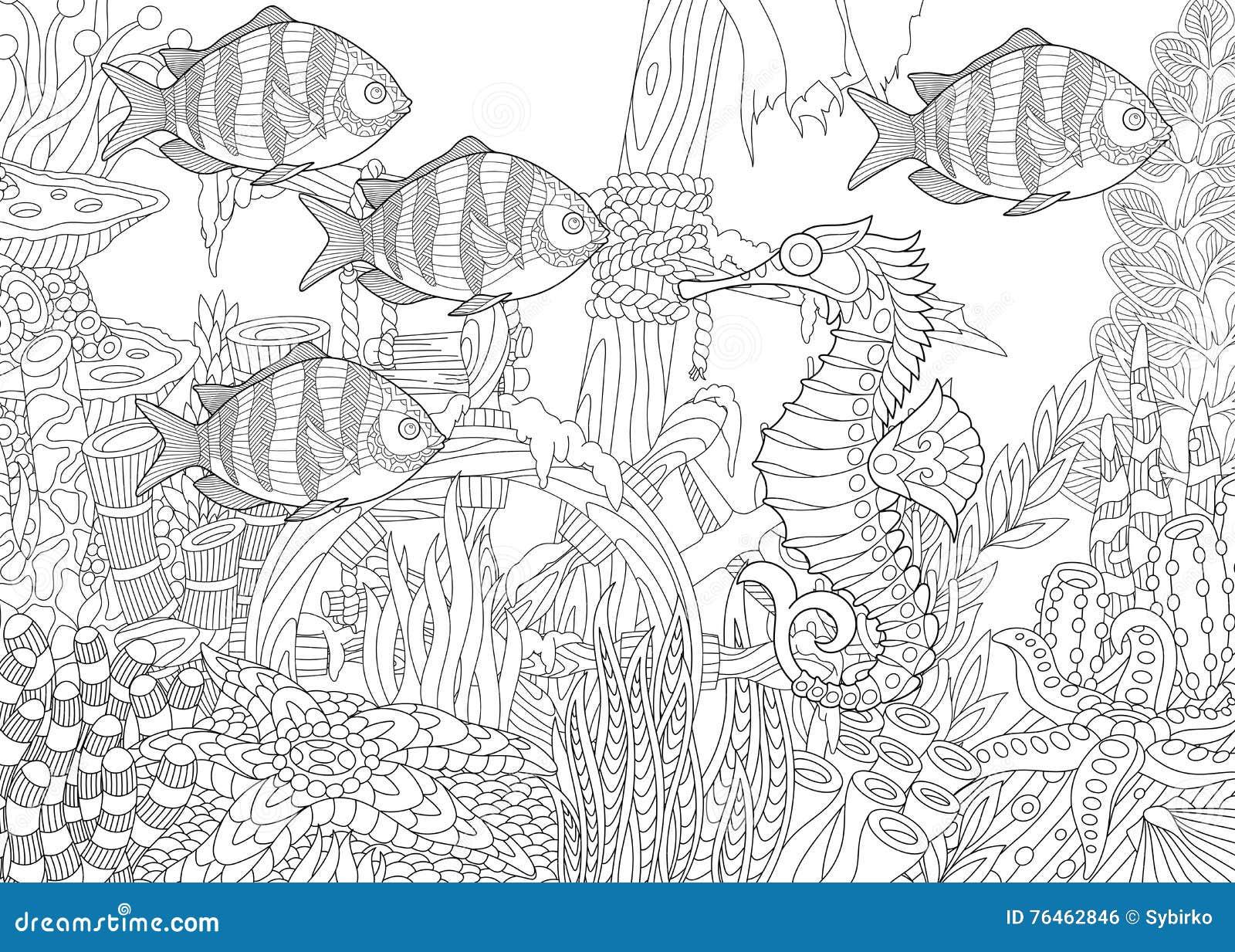 Zentangle gestileerd aquarium