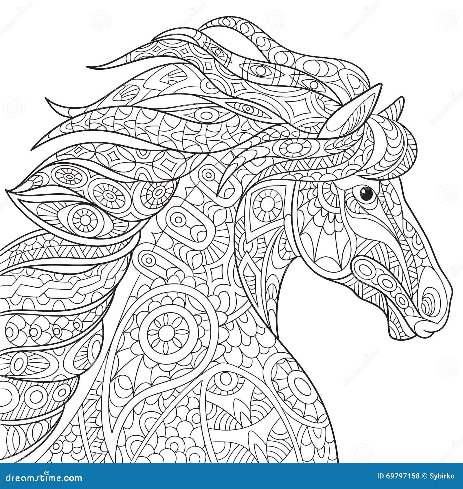 Zentangle Gestileerd Paard Vector Illustratie Afbeelding