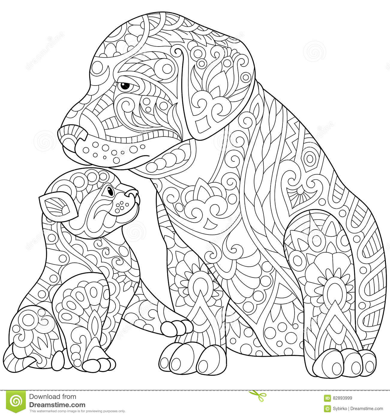 zentangle gestileerde en hond vector illustratie