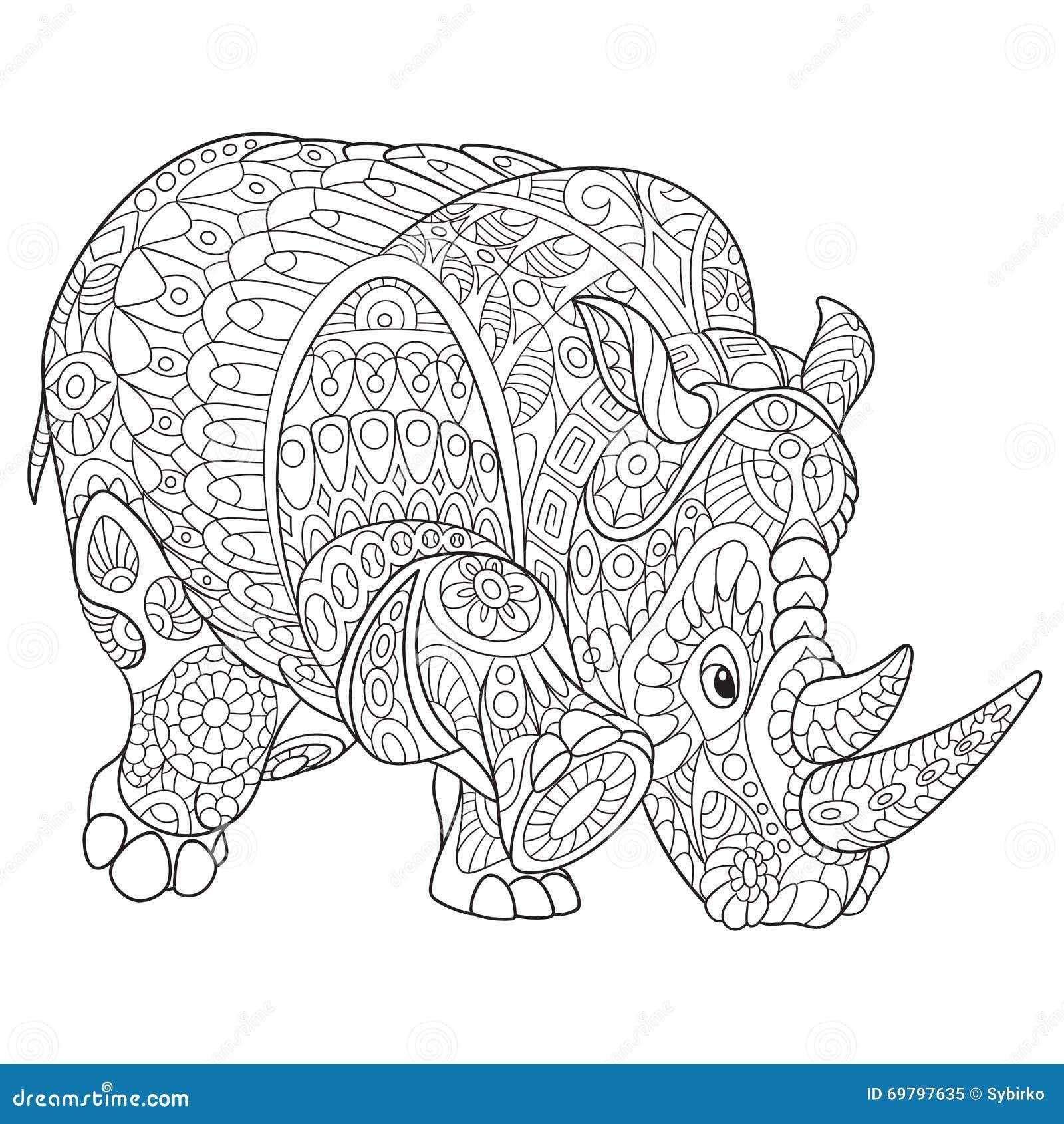 Zentangle gestileerde rinoceros