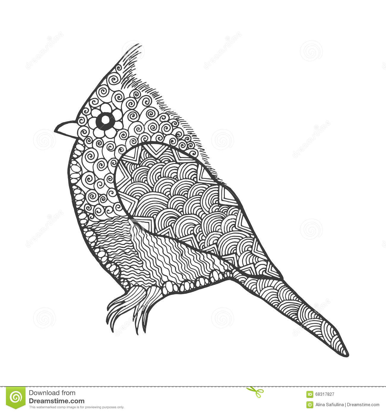 Zentangle gestileerde vogel