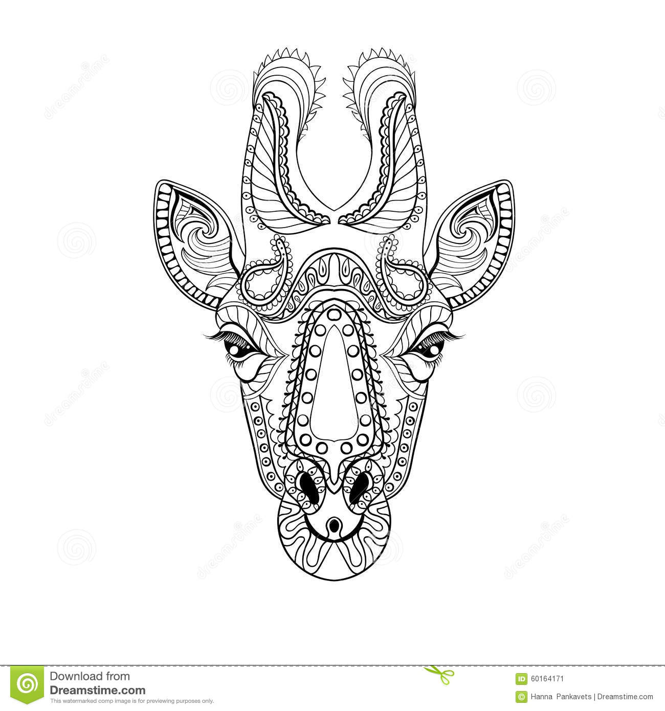 zentangle giraffe head totem for adult anti stress coloring page stock image