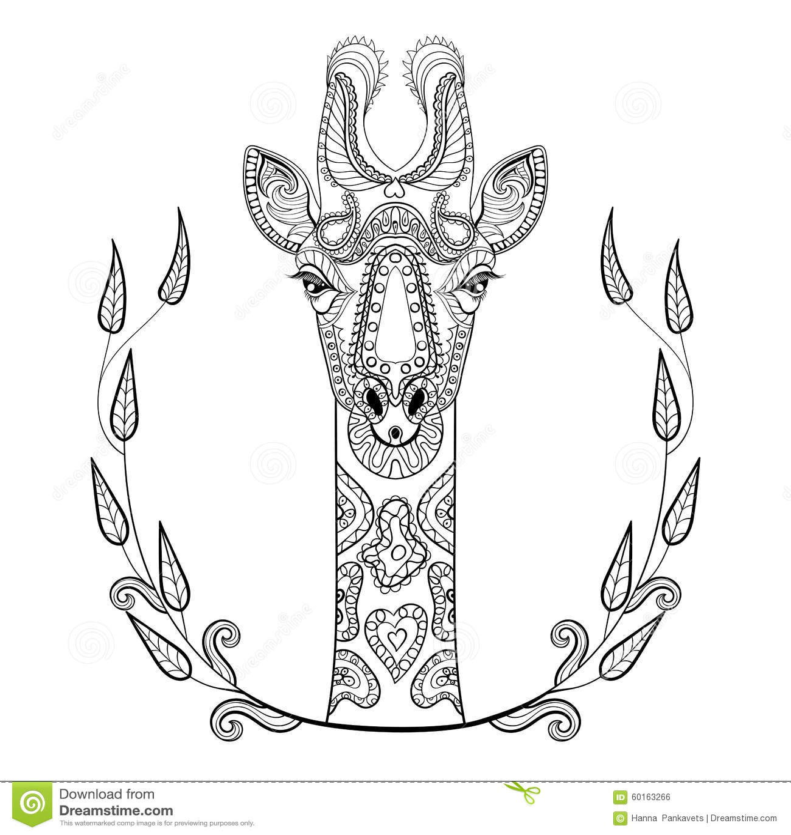 Zentangle Giraffe Head Totem In Frame For Adult Anti