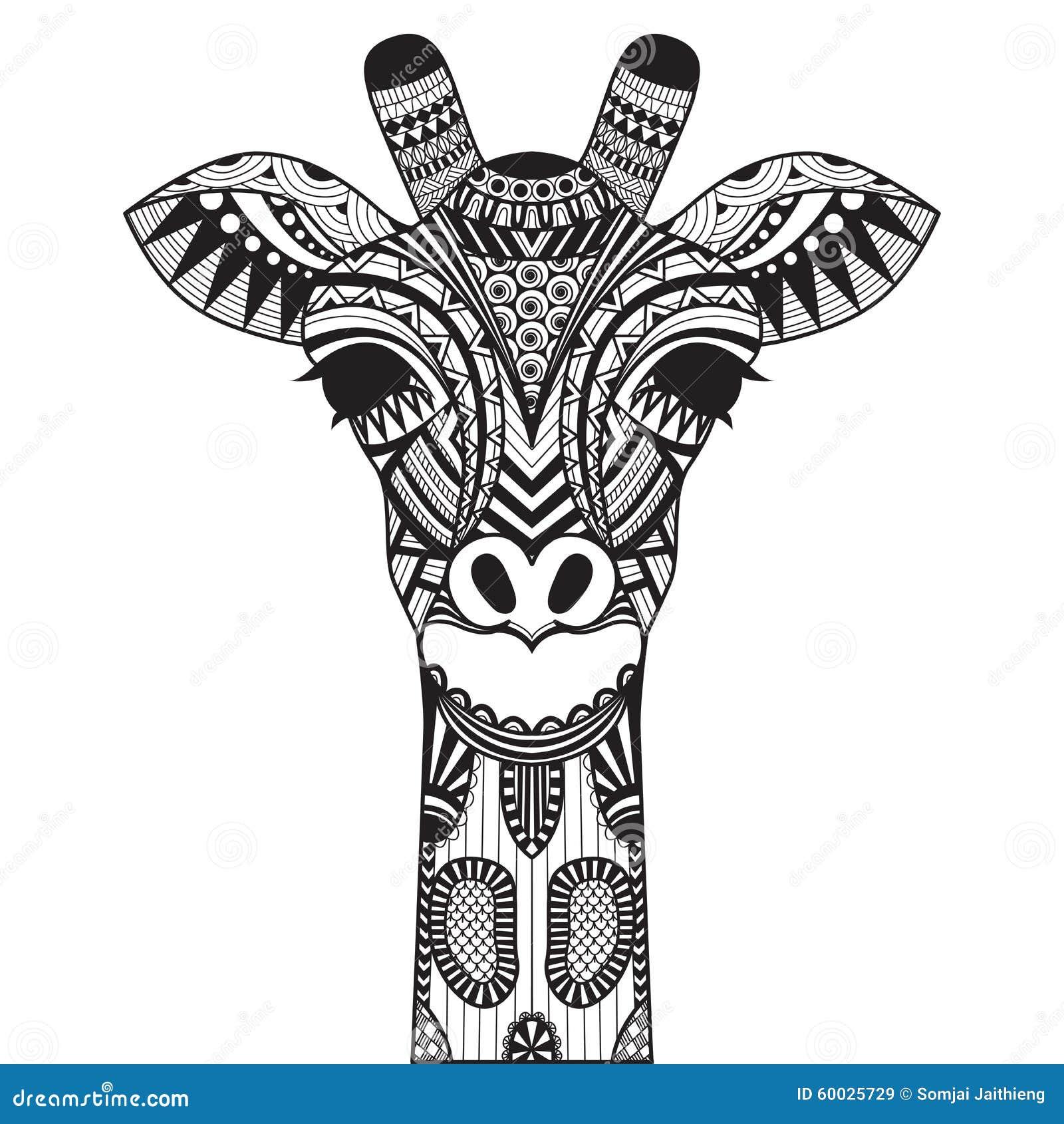 Zentangle Giraffe Isolated On Withe Background Stock