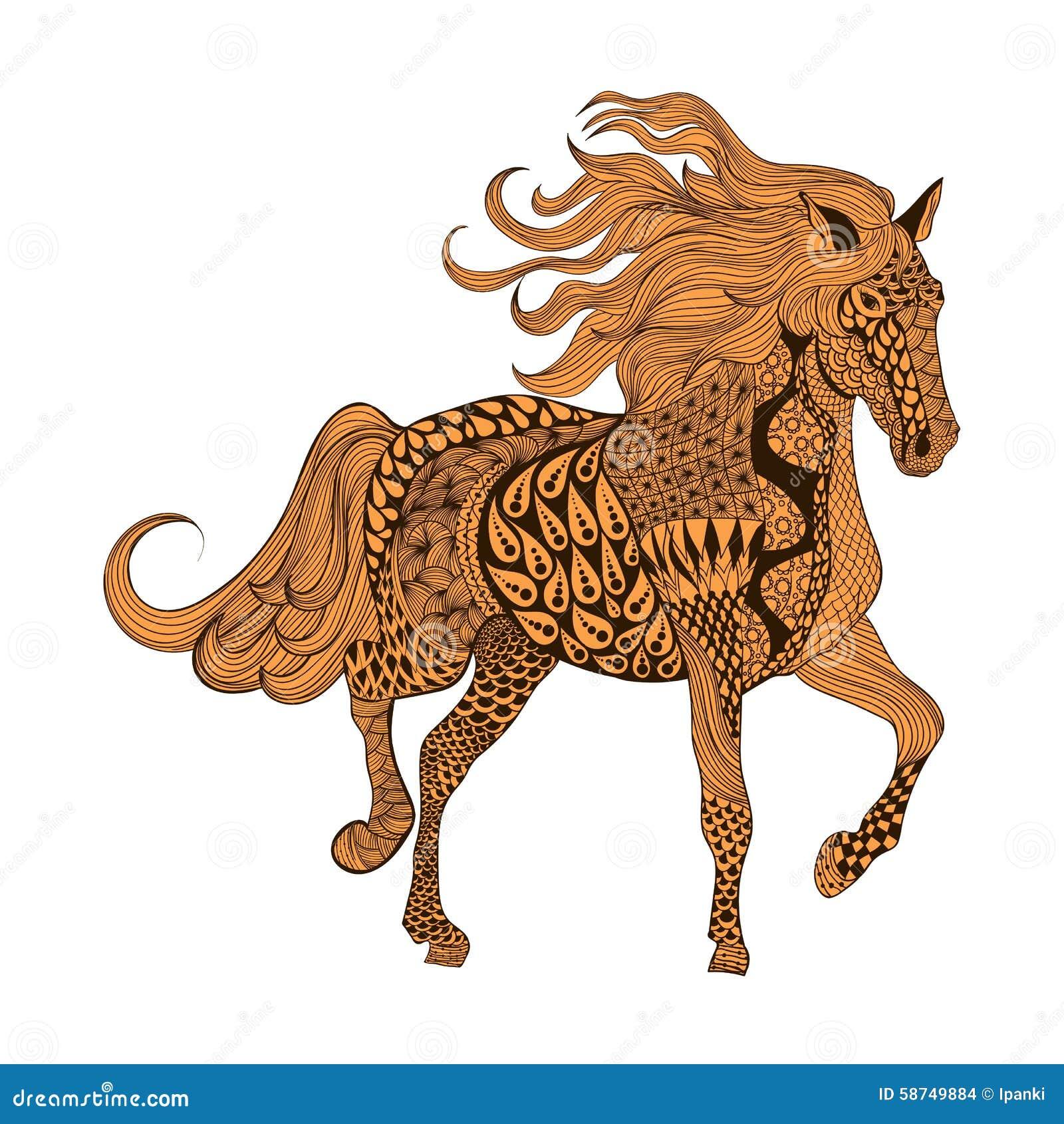 Zentangle ha stilizzato il cavallo di brown illustr for Cavallo stilizzato