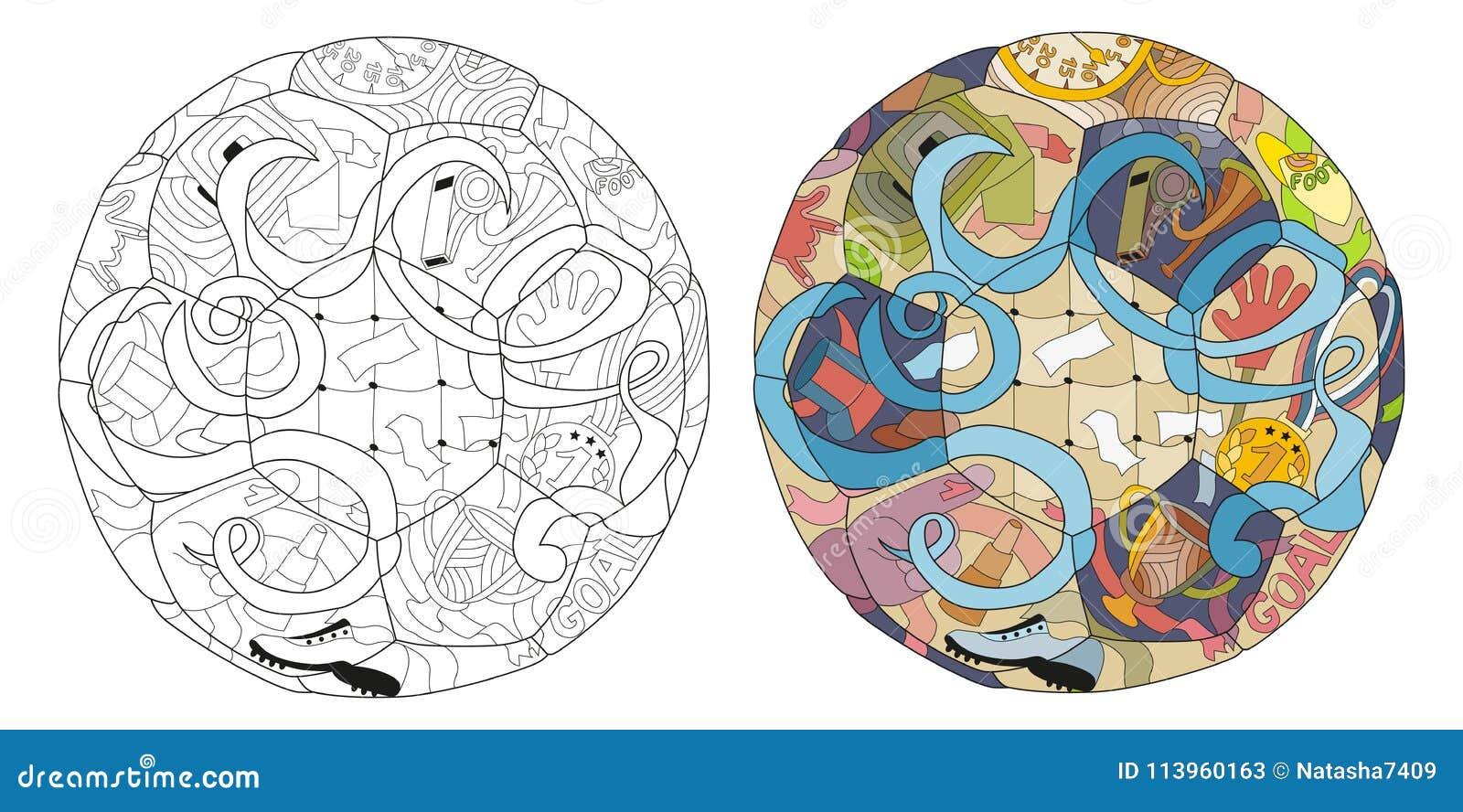 Zentangle Ha Stilizzato Il Pallone Da Calcio Illustrazione Disegnata