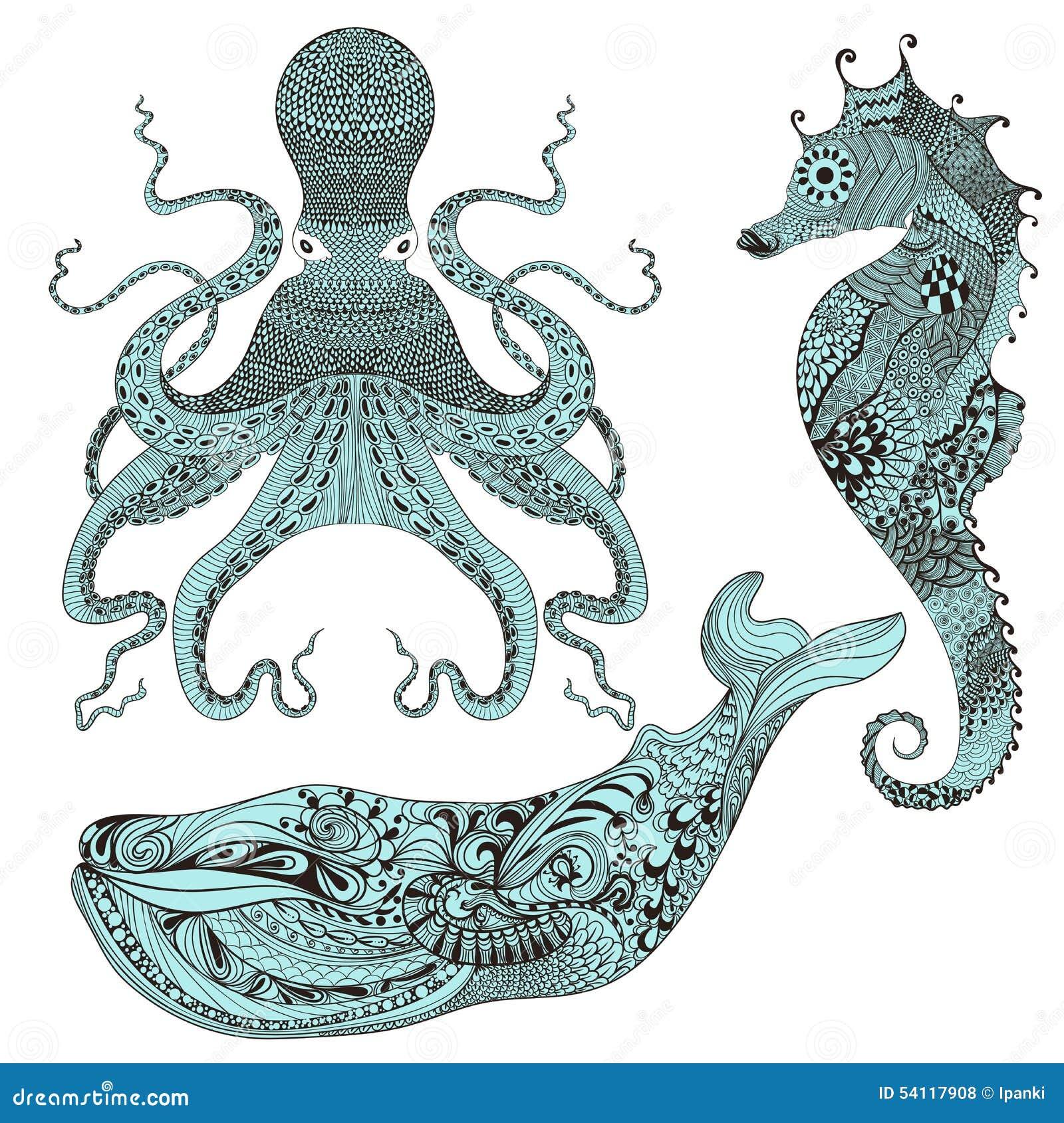 Zentangle Ha Stilizzato Il Polipo La Balena Ed Il Cavalluccio