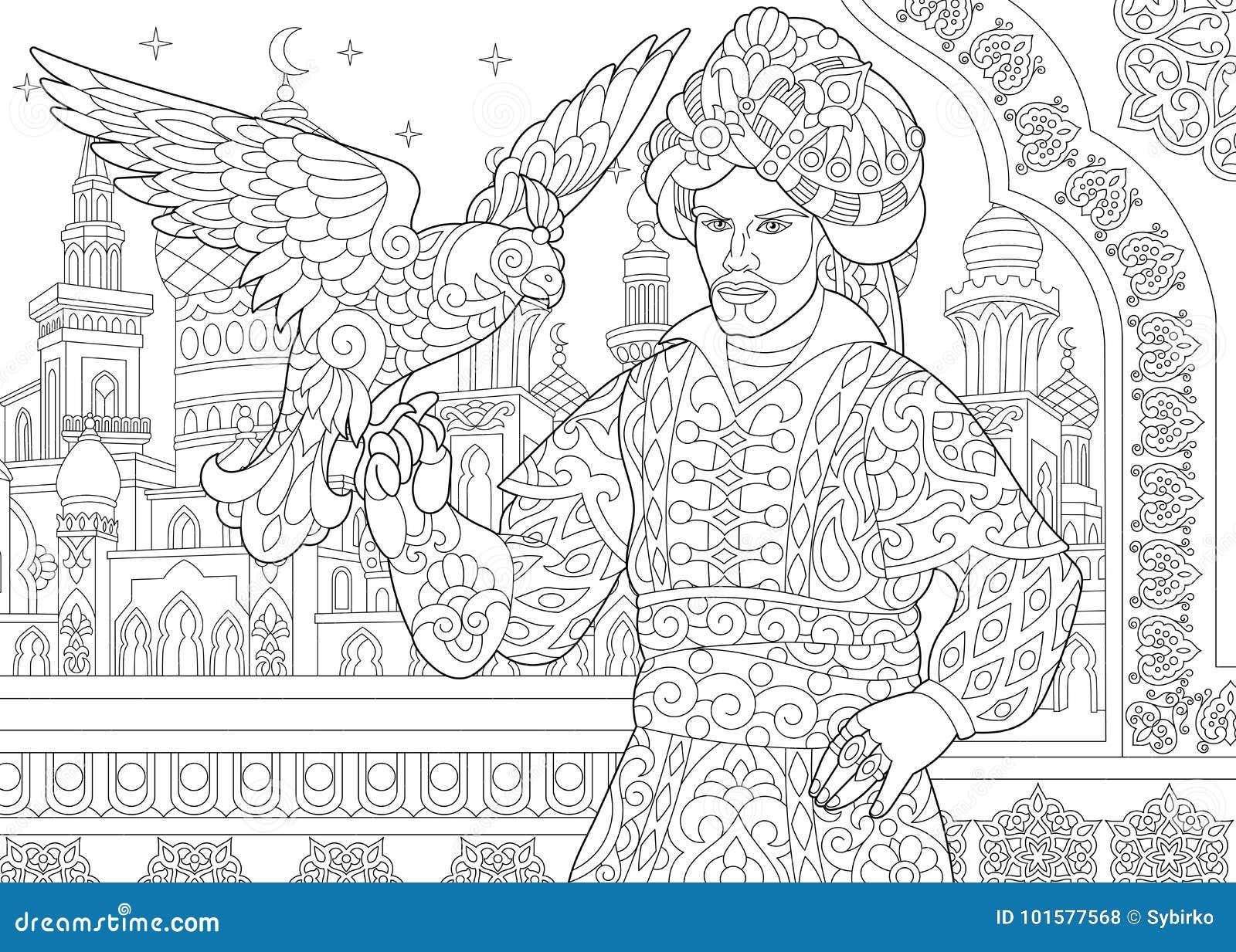 Zentangle ha stilizzato il sultano dell ottomano con il falco