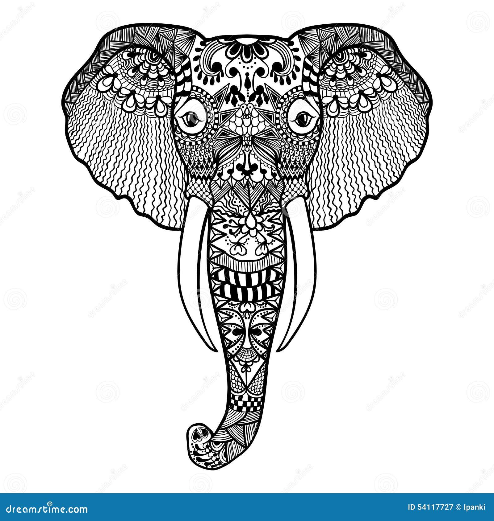 Zentangle ha stilizzato l elefante Illustrazione disegnata a mano del pizzo