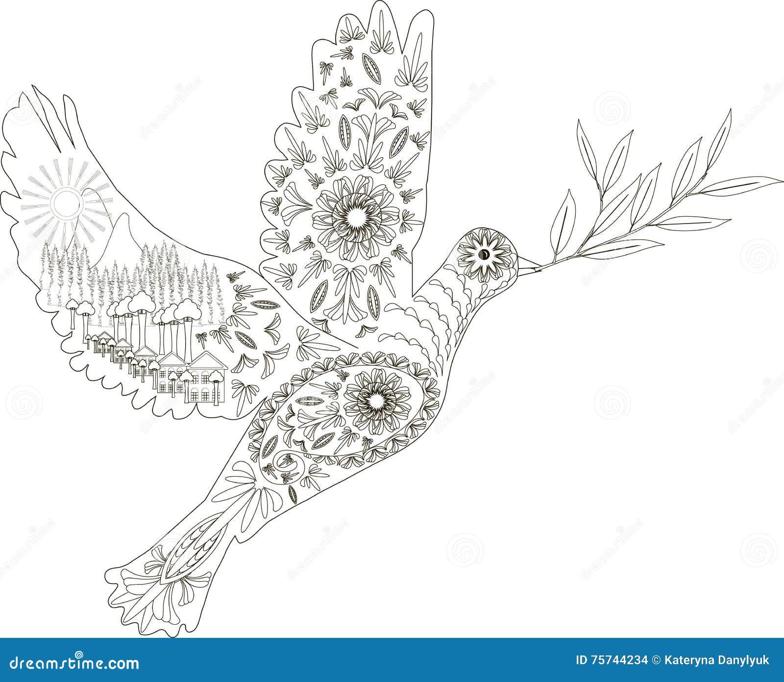 Pace Bianco E Nero zentangle ha stilizzato la colomba di disegnato a mano in