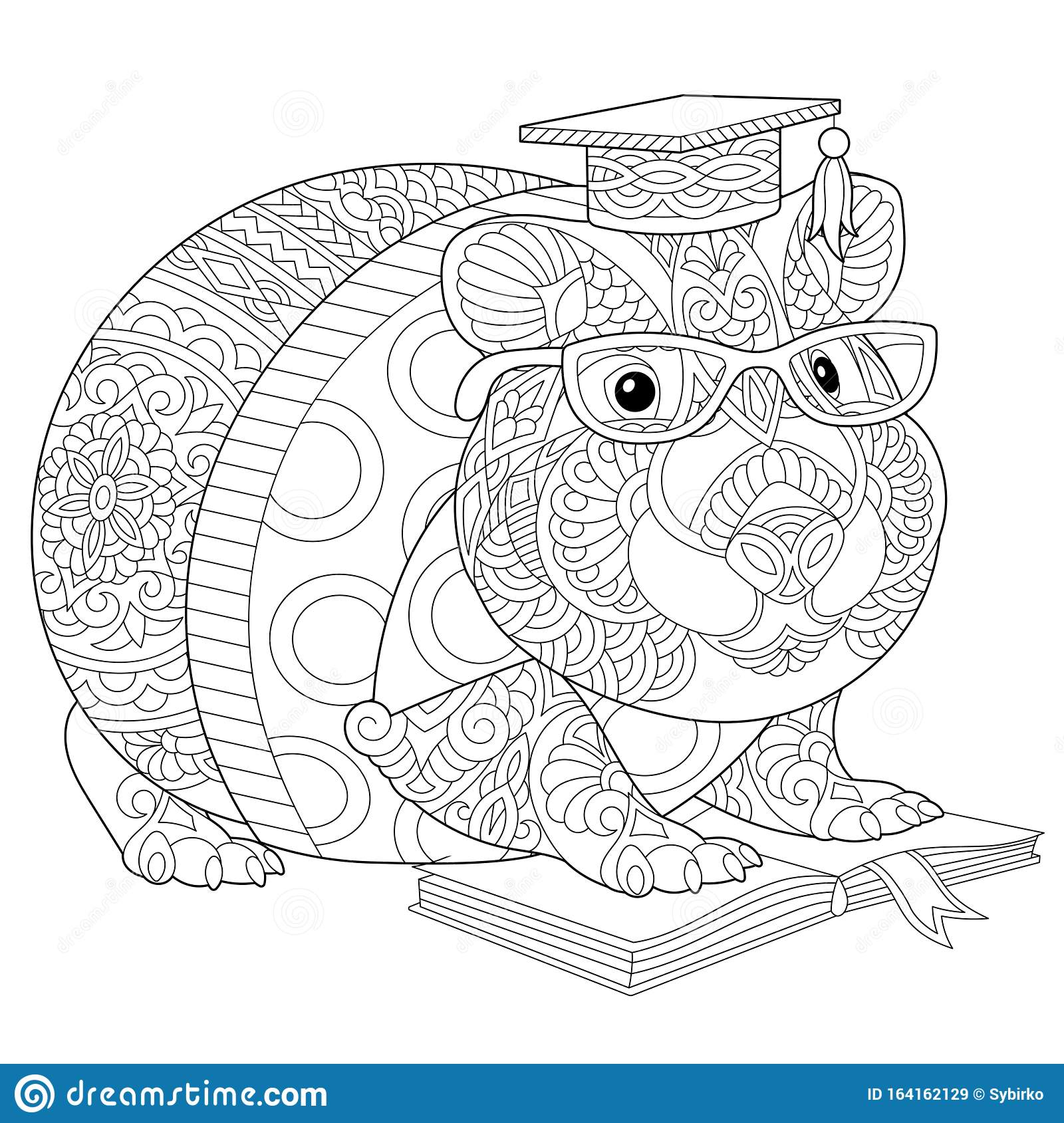 Zentangle Hamster Or Guinea Pig Coloring Page Stock Vector Illustration Of Hamster Cartoon 164162129
