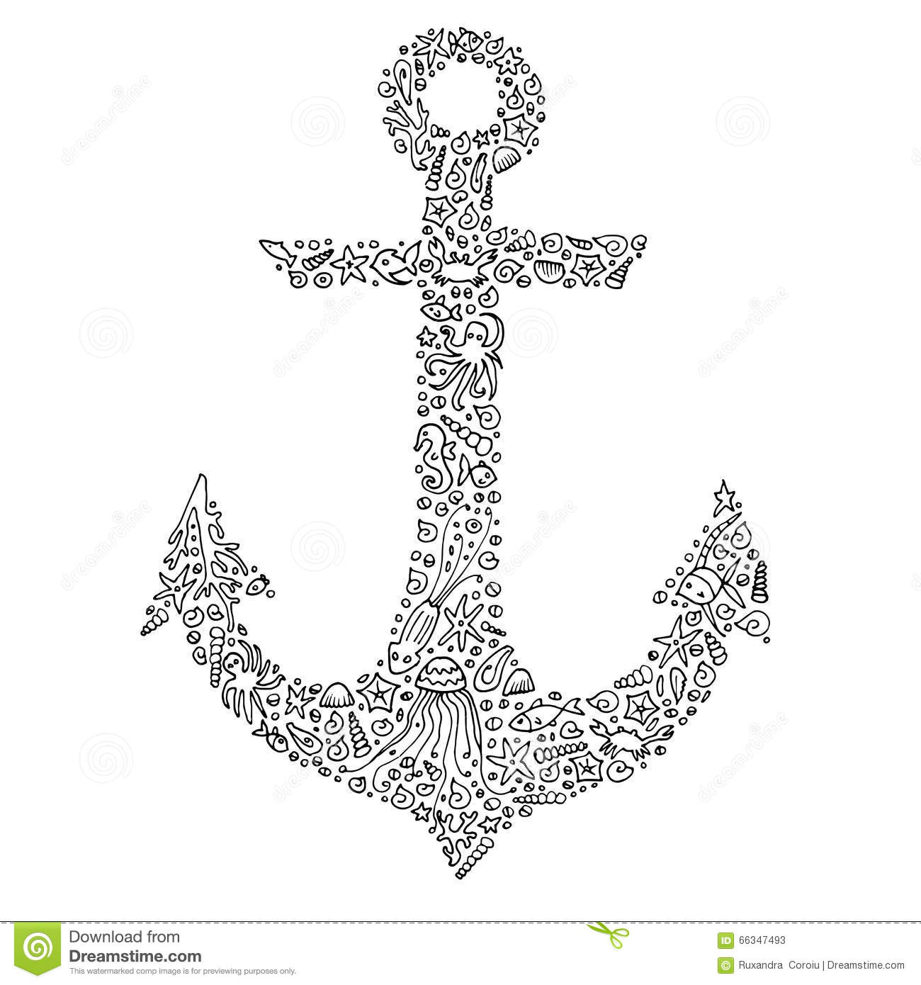 zentangle hand drawn anchor with sea creatures adult coloring page for print vector eps 10 - Anchor Coloring Page