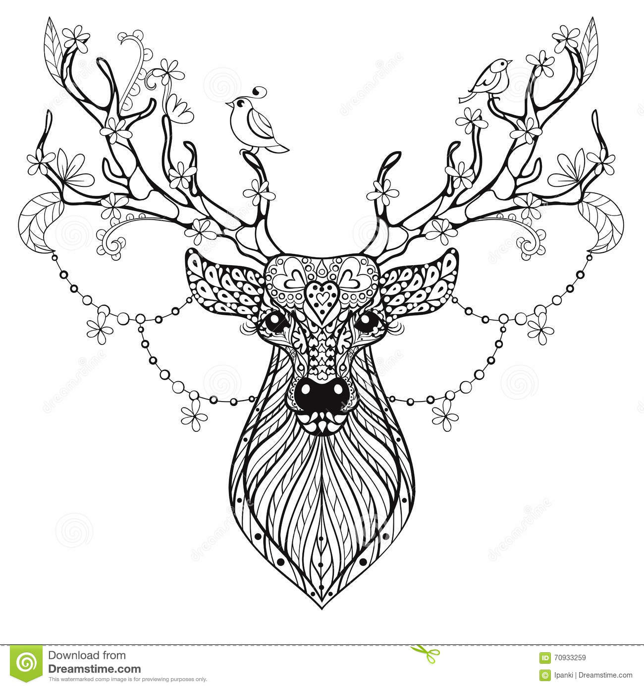 zentangle hand drawn magic horned deer for adult antistress colo royalty free stock images - Free Colo