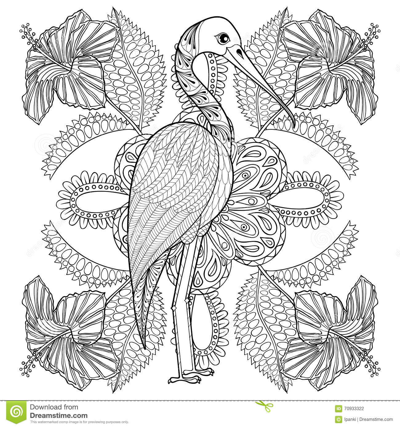 Coloring sheets for adults flamingo - Zentangle Hand Drawn Stork In Hibiskus For Adult Antistress Colo Stock Photography