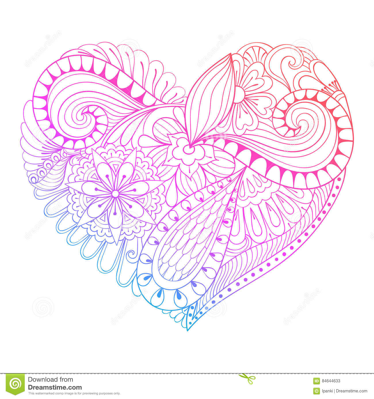 heart zentangle coloring pages - photo#15