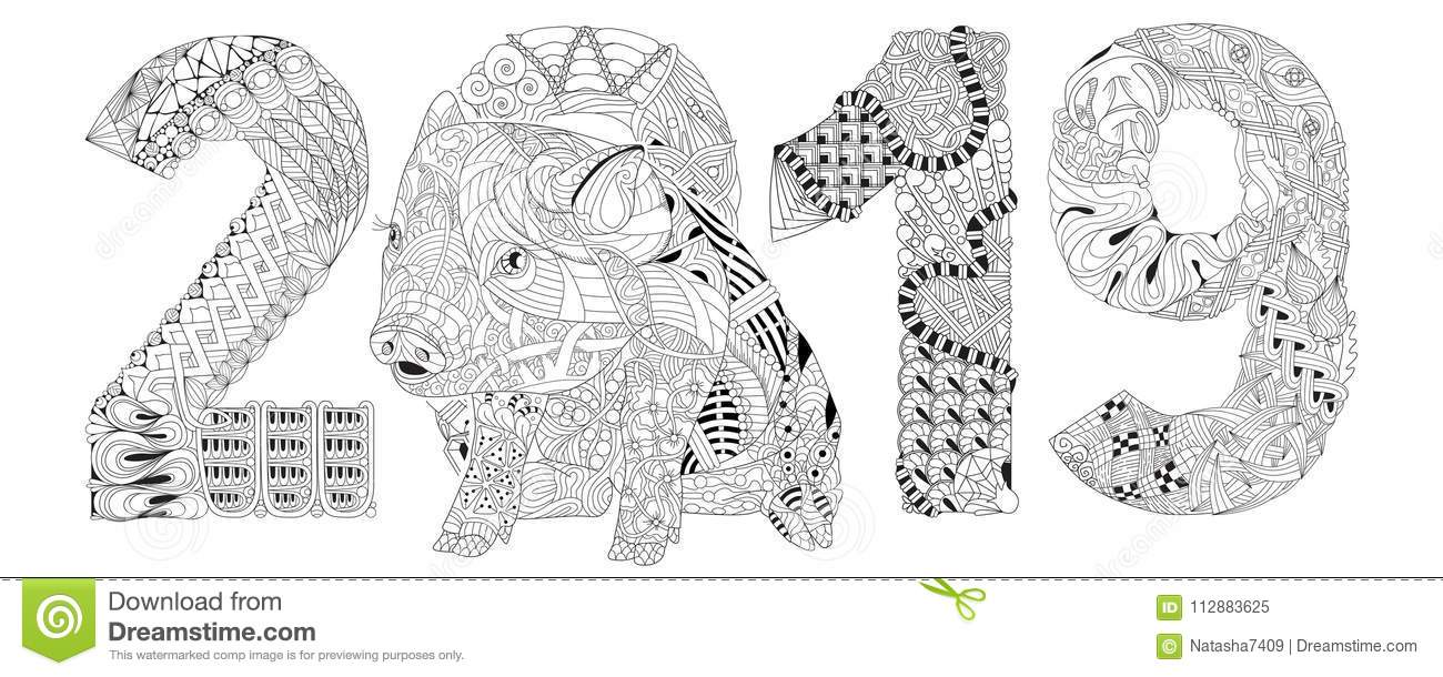 Piggy coloring book with number 2019 for adults vector - Color for new year 2019 ...