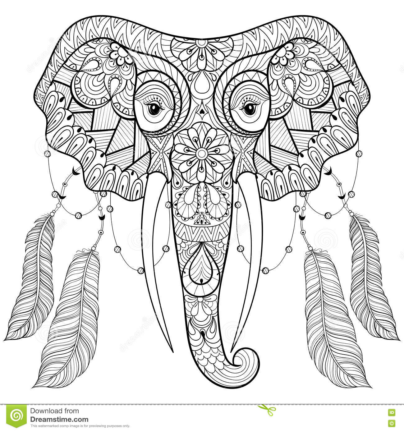 Zentangle Indian Elephant With Bird Feathers In Boho Chic