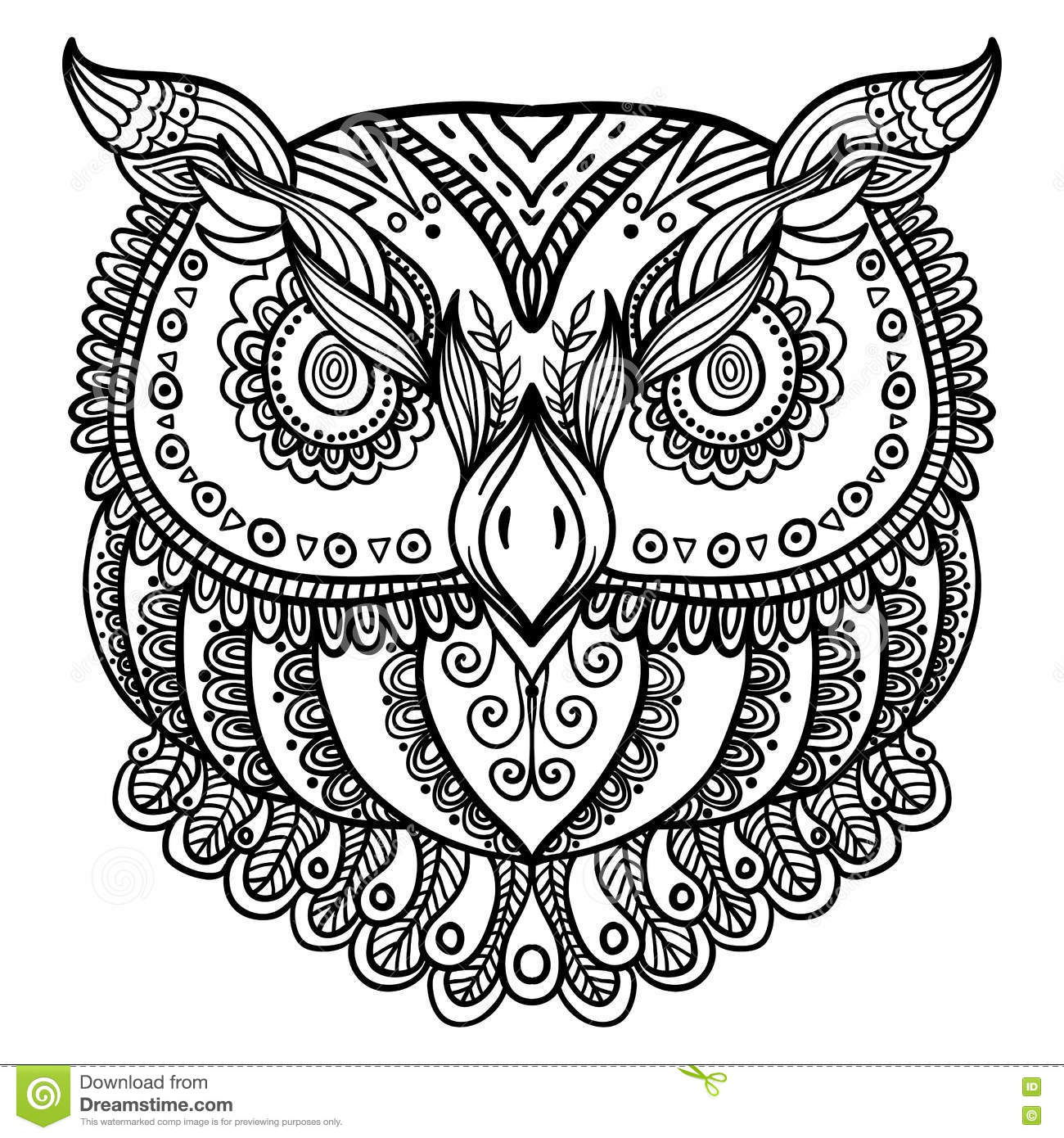 zentangle inspired abstract owl vector hand drawn illustration stock vector image 81383055. Black Bedroom Furniture Sets. Home Design Ideas