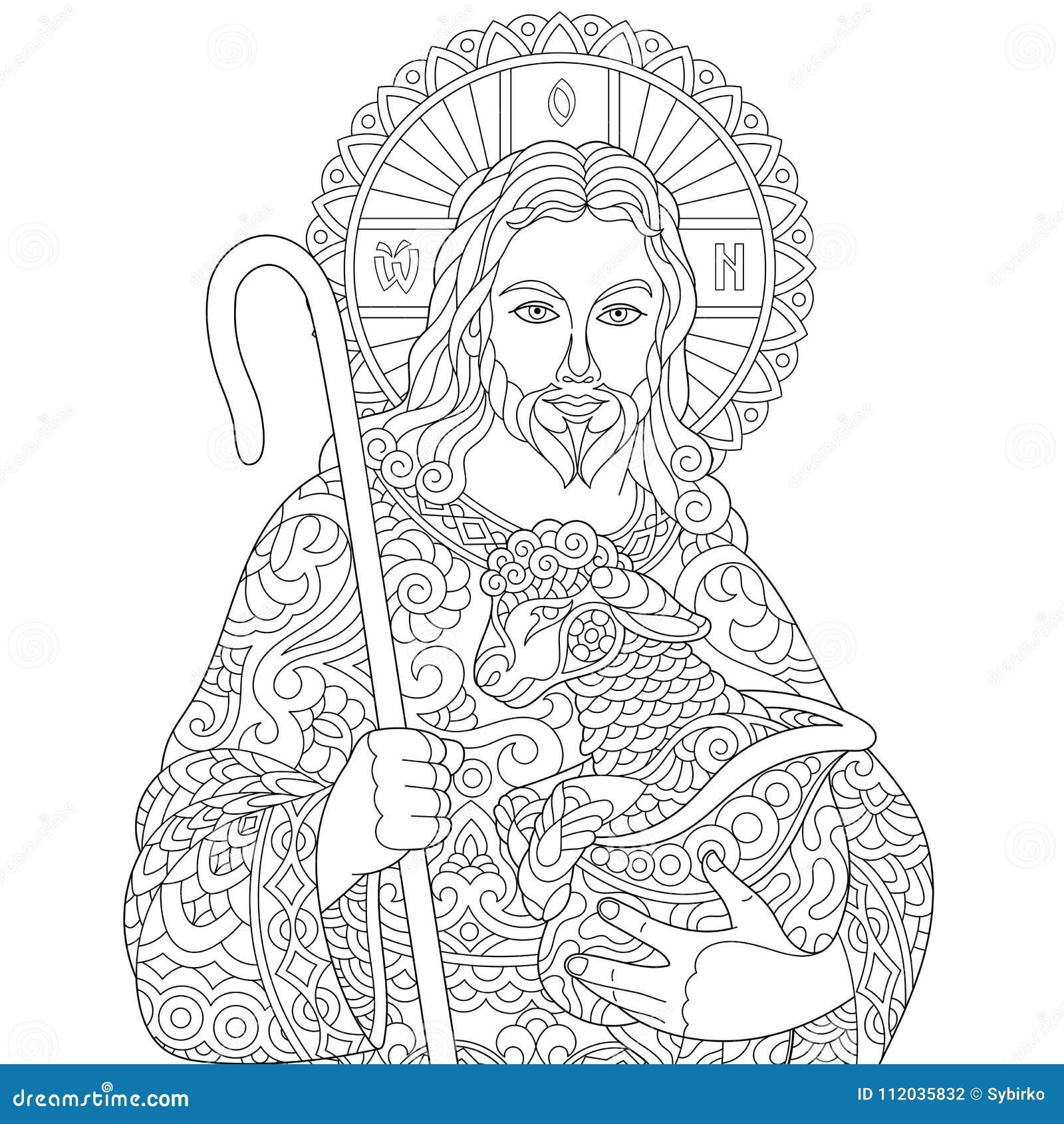 Zentangle Jesus Christ Ilustración Del Vector Ilustración De