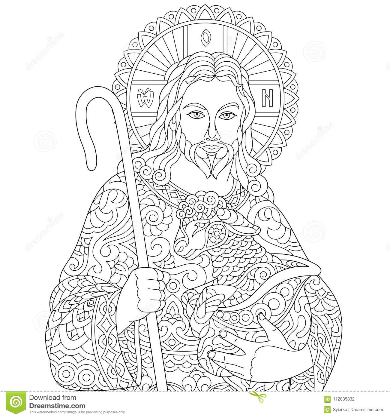 Zentangle Jesus Christ stock vector. Illustration of colouring ...