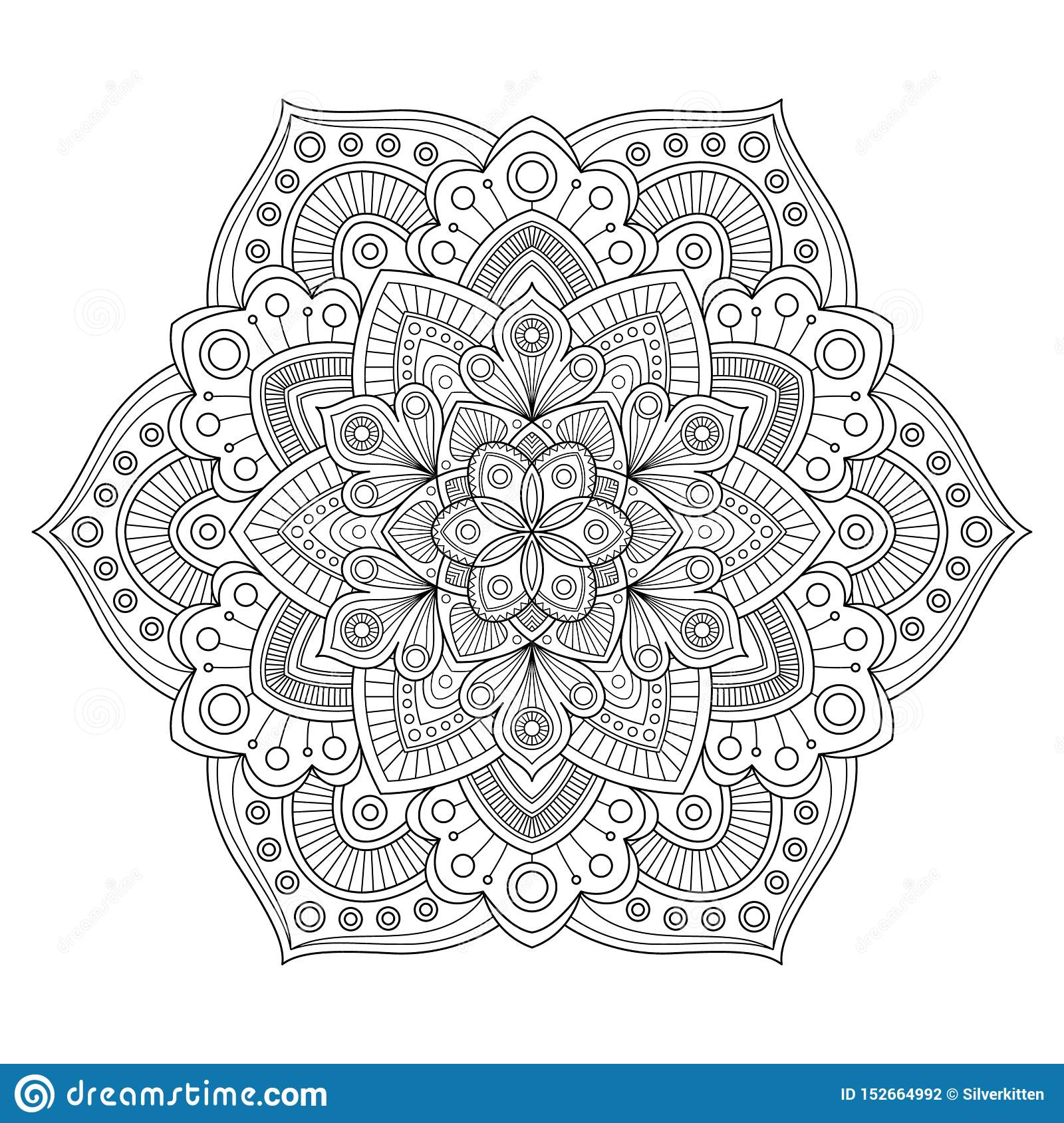Zentangle Mandala For Antistress Coloring Book Page Stock ...