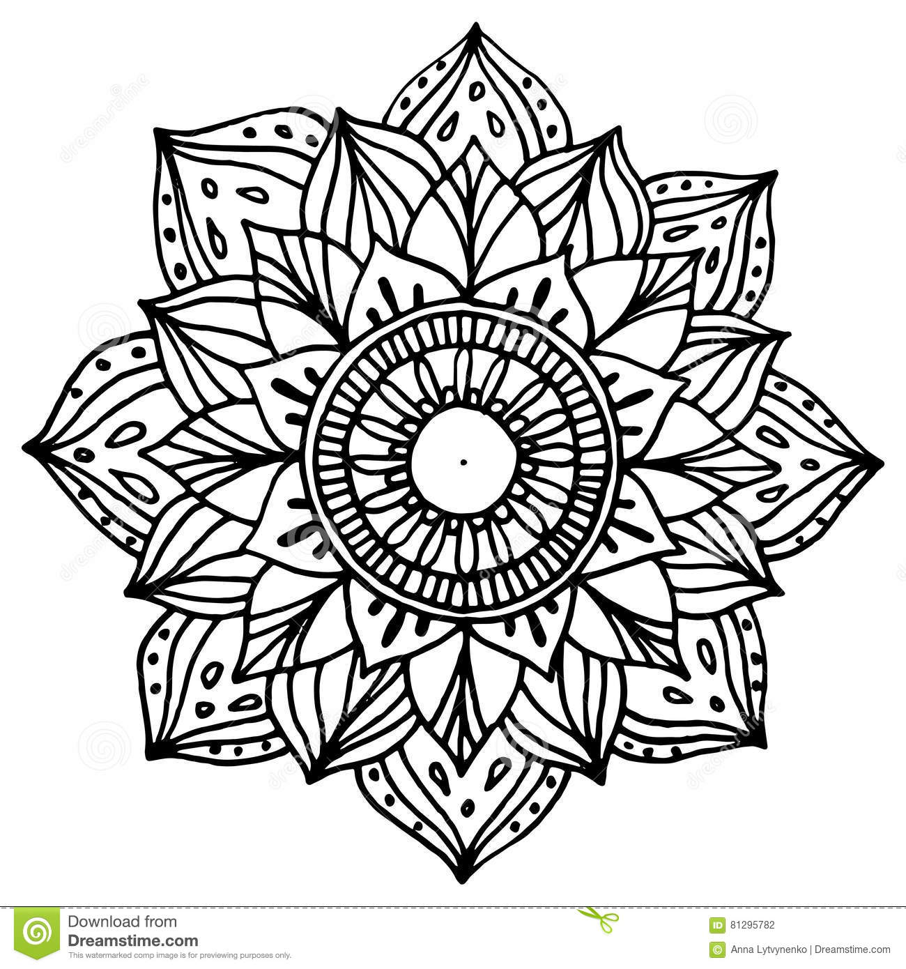 Zentangle Mandala For Coloring Book And Adults Made By Trace From Personal Hand Drawn Sketch Black White