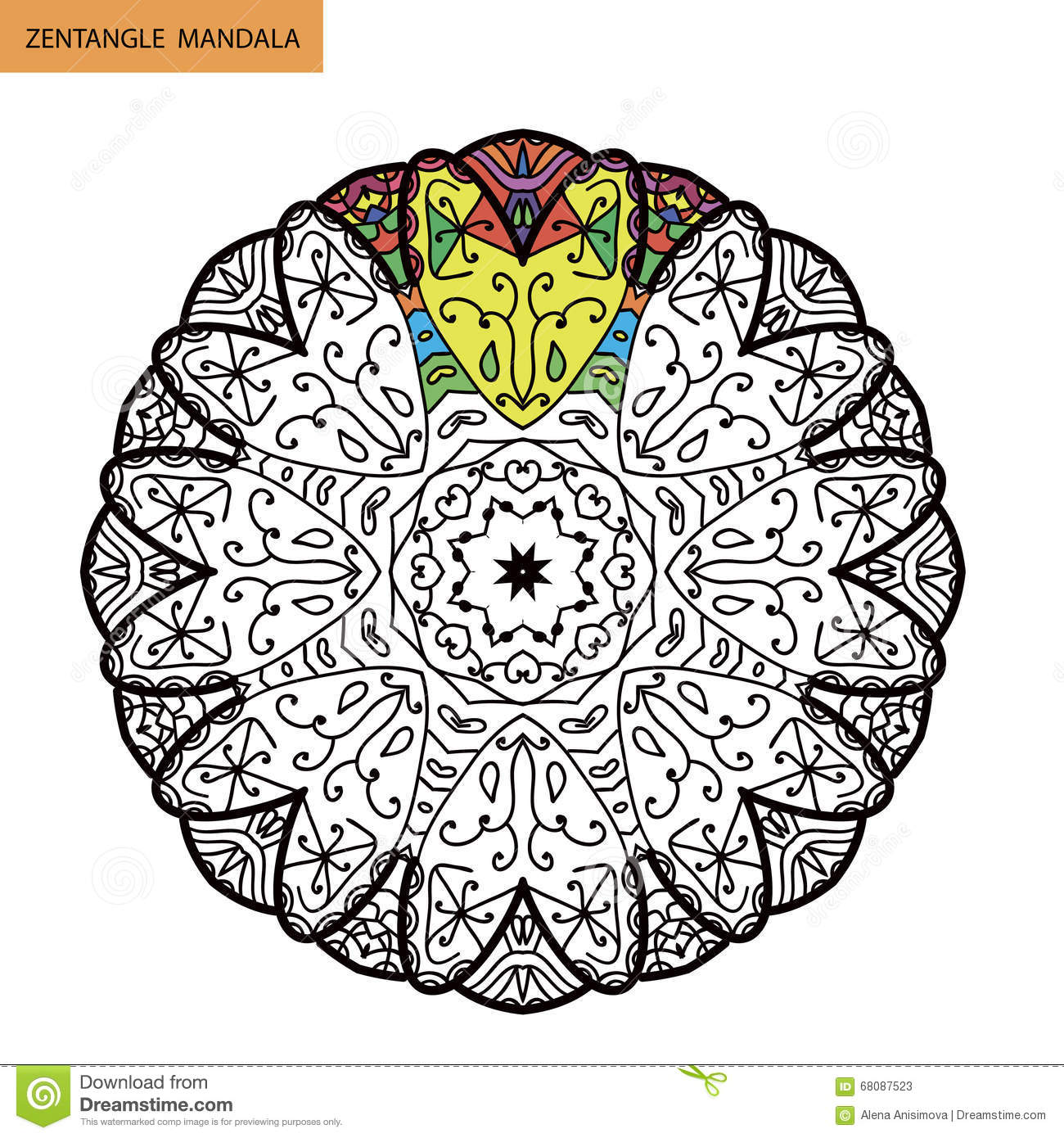 Zentangle Mandala Coloring Book Page For Adults Relax And