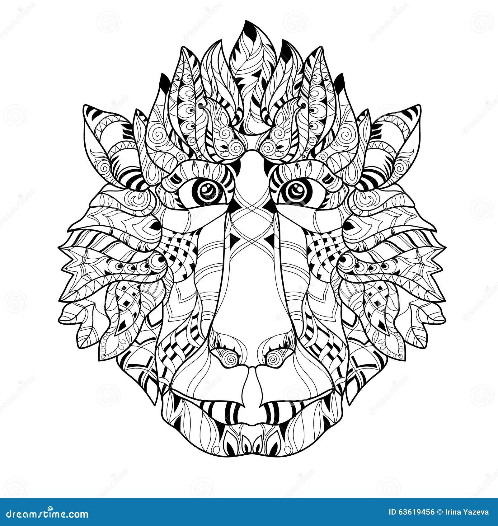 Zentangle Monkey Head Doodle. Hand Drawn Vector. Stock