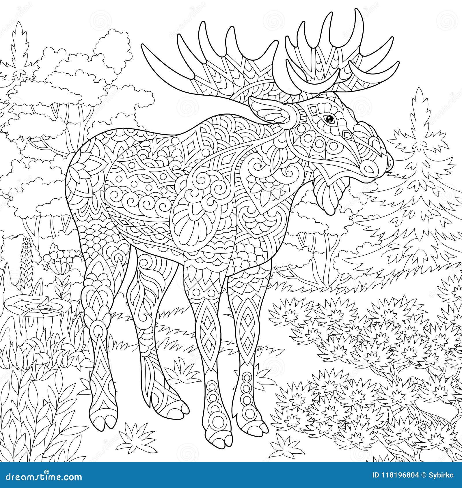 Zentangle Moose Forest Animal Stock Vector