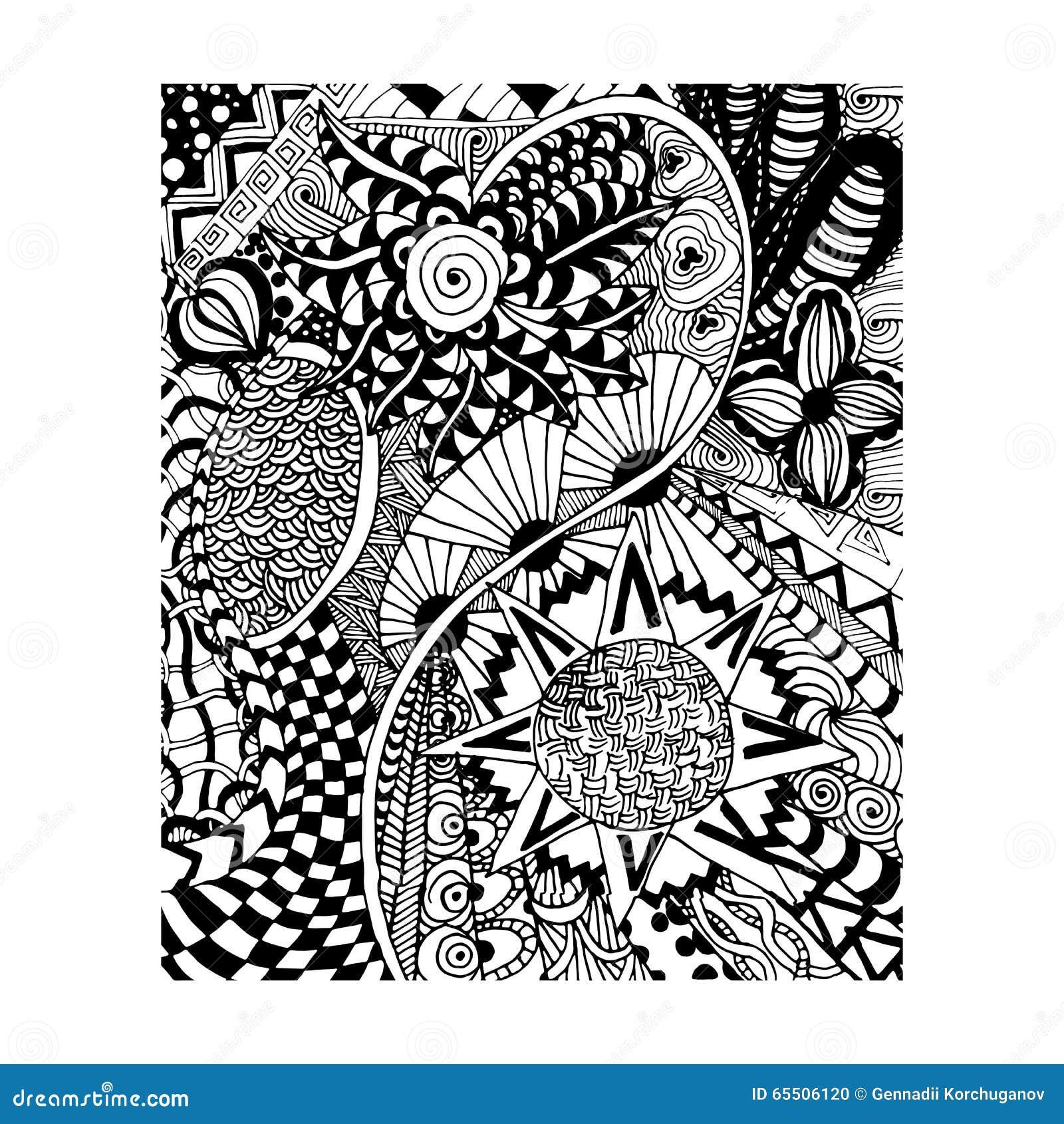 download zentangle muster gekritzel florent art handabgehobener betrag stock abbildung - Zentangle Muster