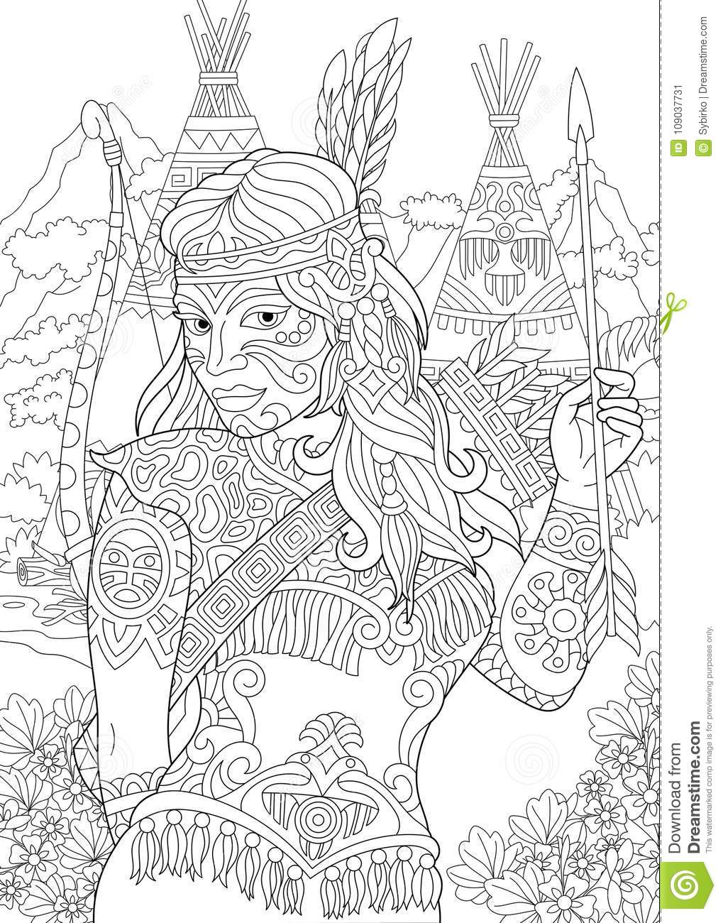 india coloring pages for adults | Cherokee Woman Stock Illustrations – 188 Cherokee Woman ...