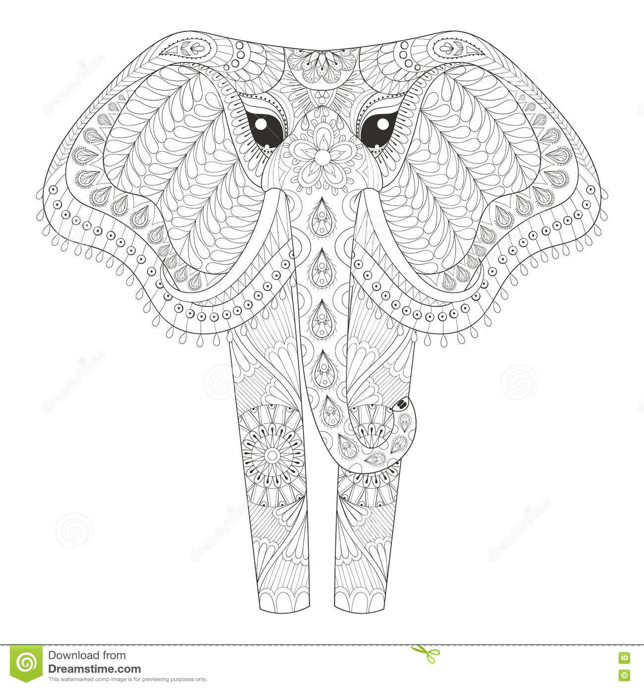 zentangle ornamental elephant for adult coloring pages hand dra royalty free stock images
