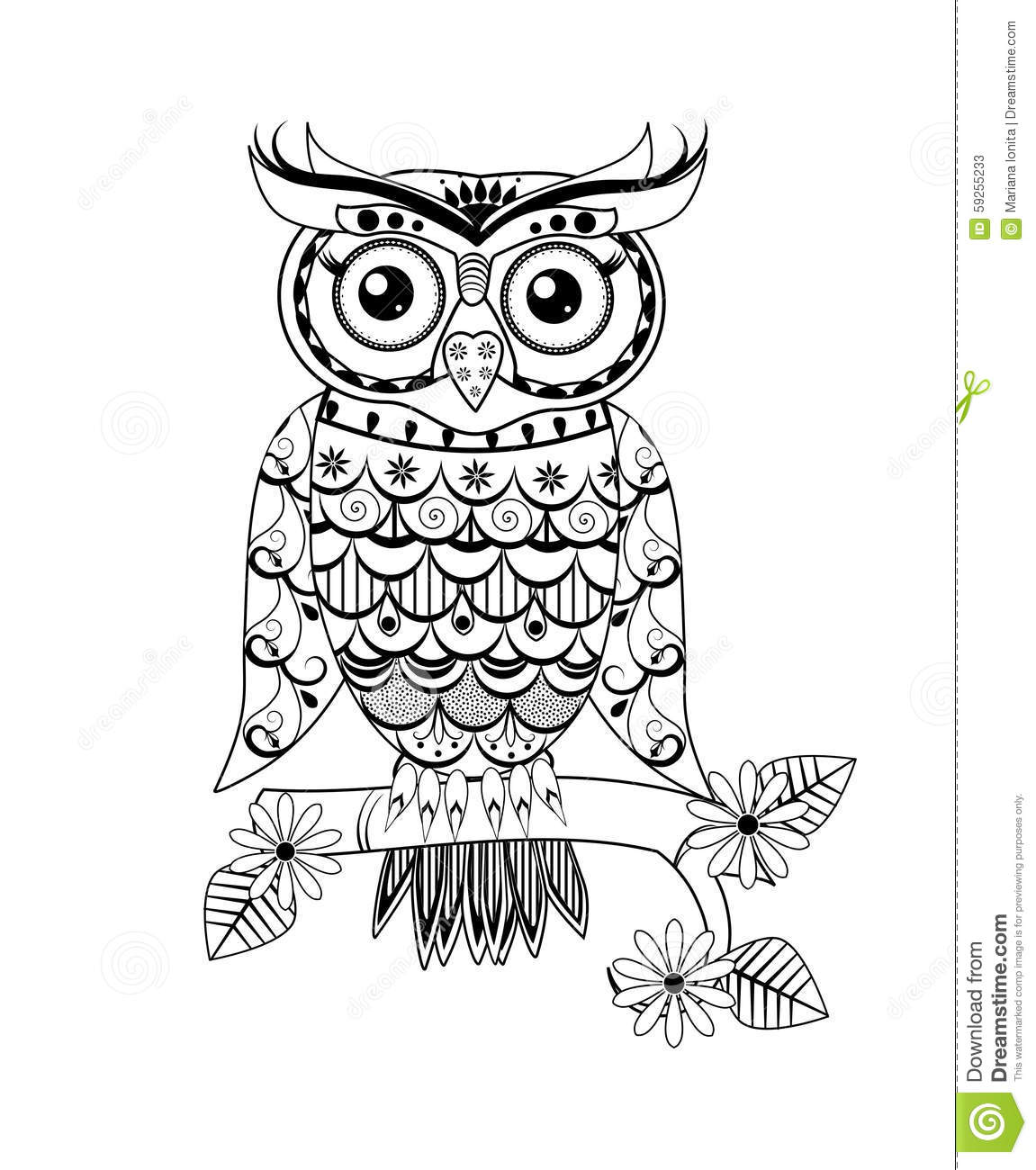 Christmas Owl Coloring Pages Zentangle Owl Black An...
