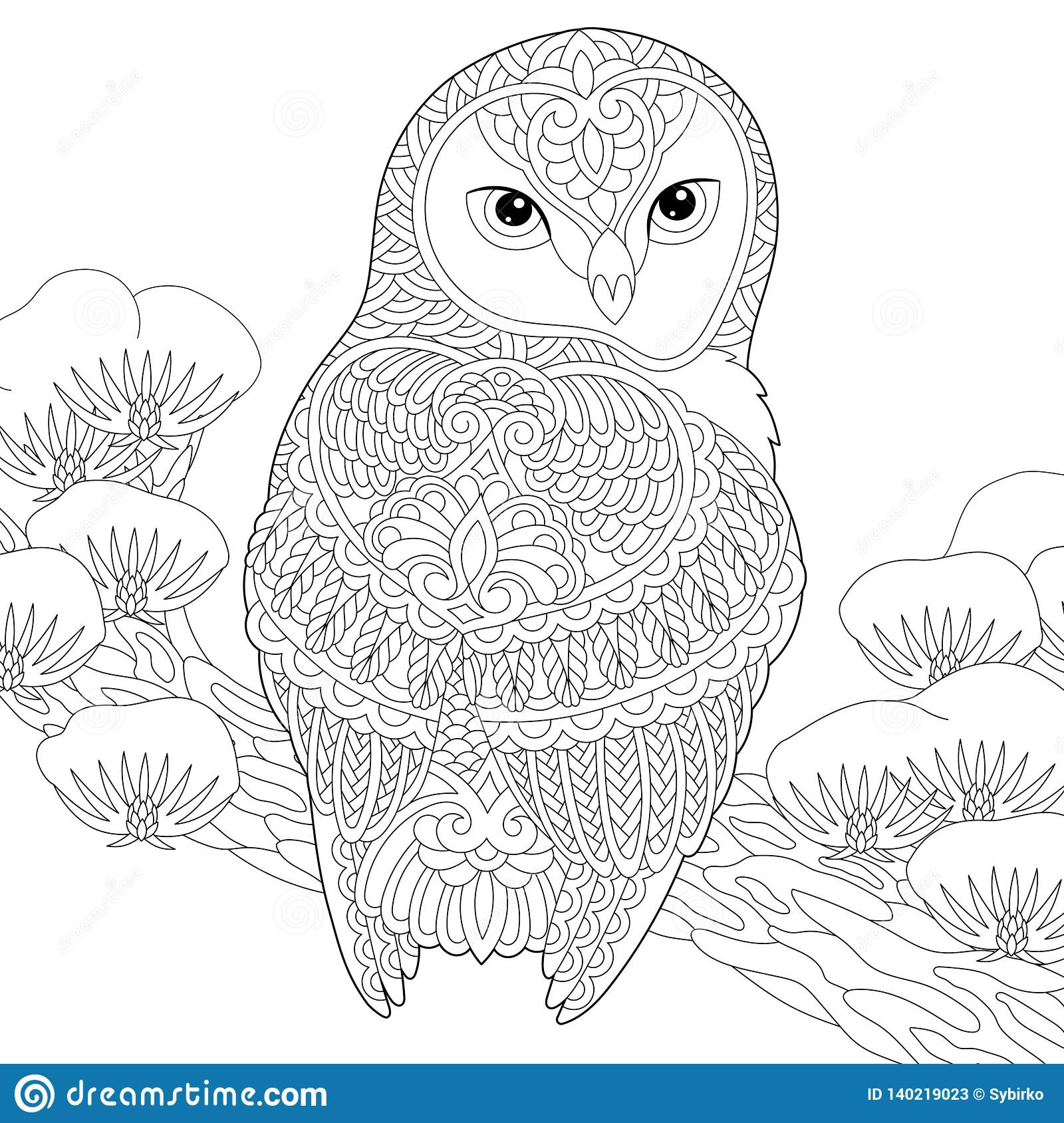 Zentangle Owl Coloring Page Stock Vector - Illustration of ...